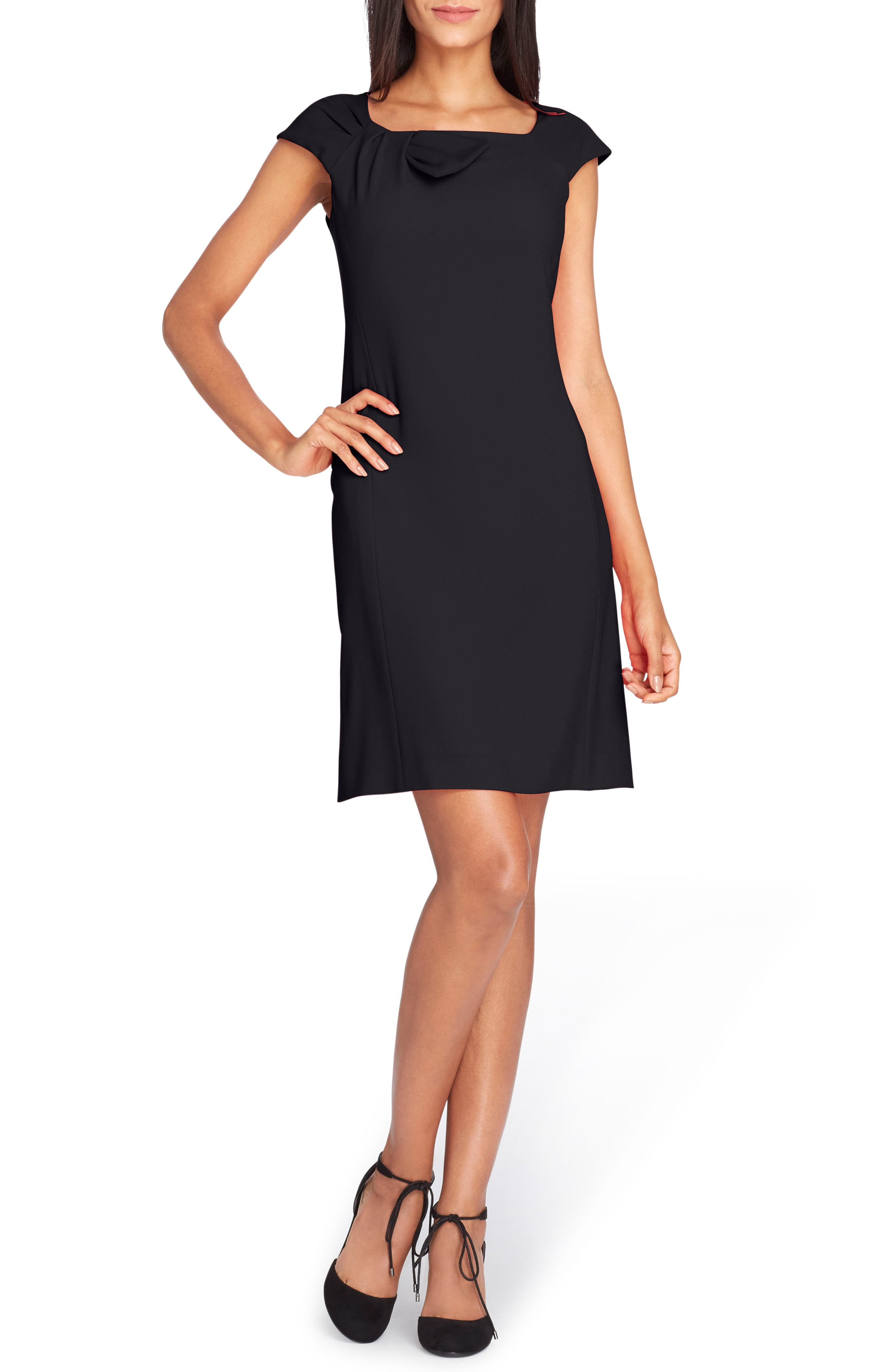 Bow Neck Sheath Dress,                             Main thumbnail 1, color,                             001