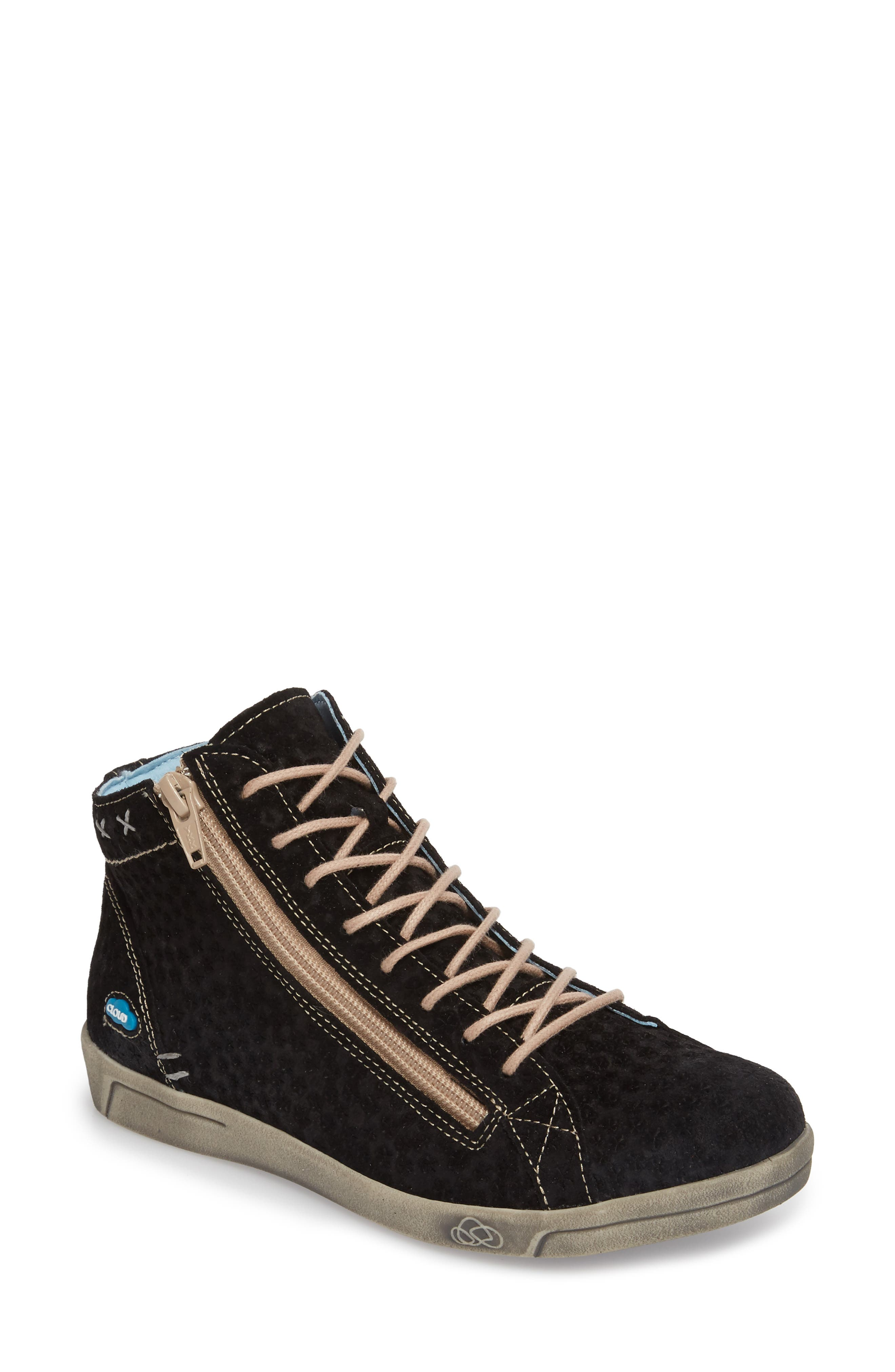 Aika Star Perforated High Top Sneaker,                             Main thumbnail 1, color,                             BLACK LEATHER
