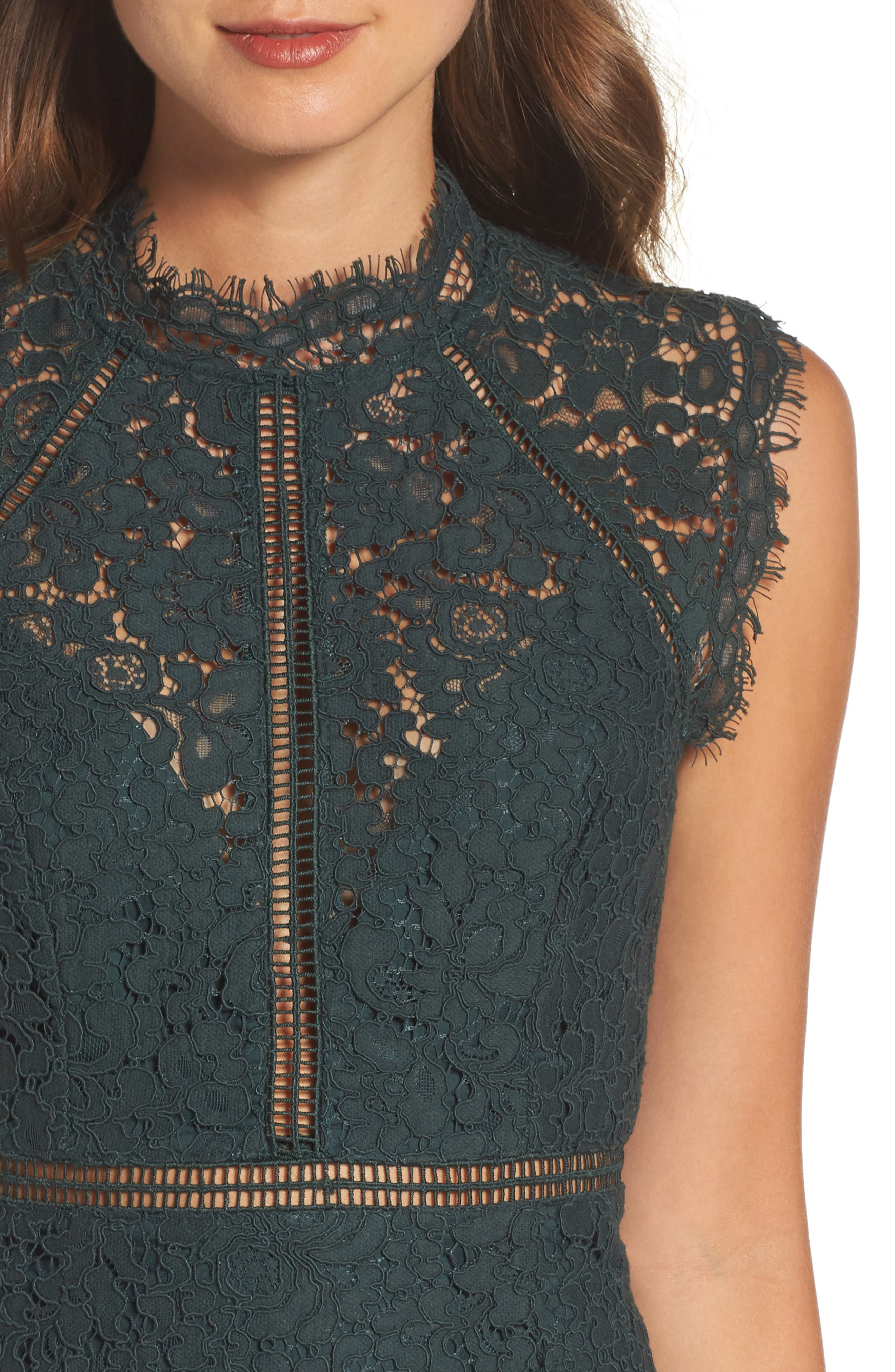 Lace Sheath Dress,                             Alternate thumbnail 4, color,                             FOREST