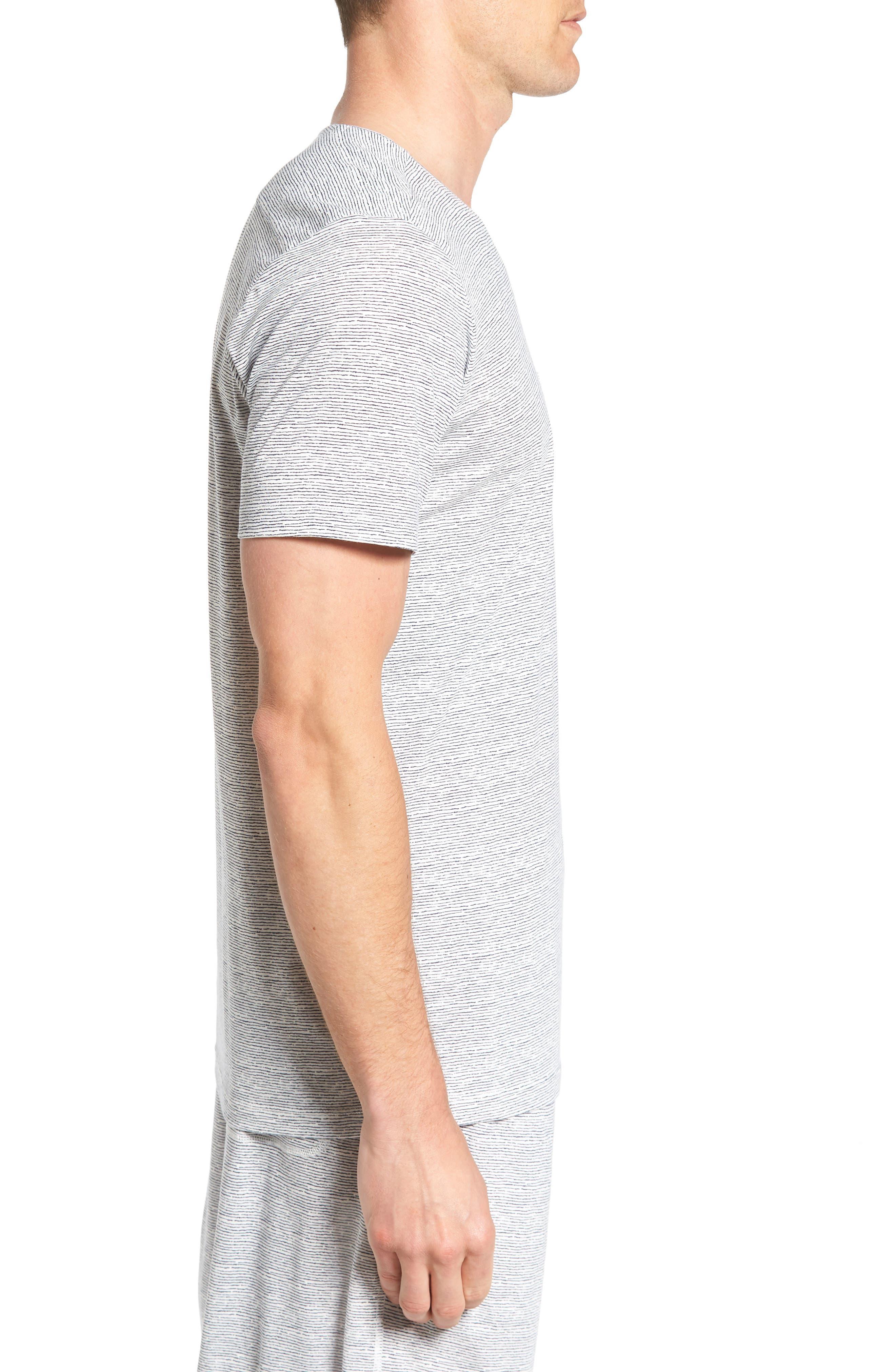 Feeder Stripe Pima Cotton & Modal V-Neck T-Shirt,                             Alternate thumbnail 8, color,