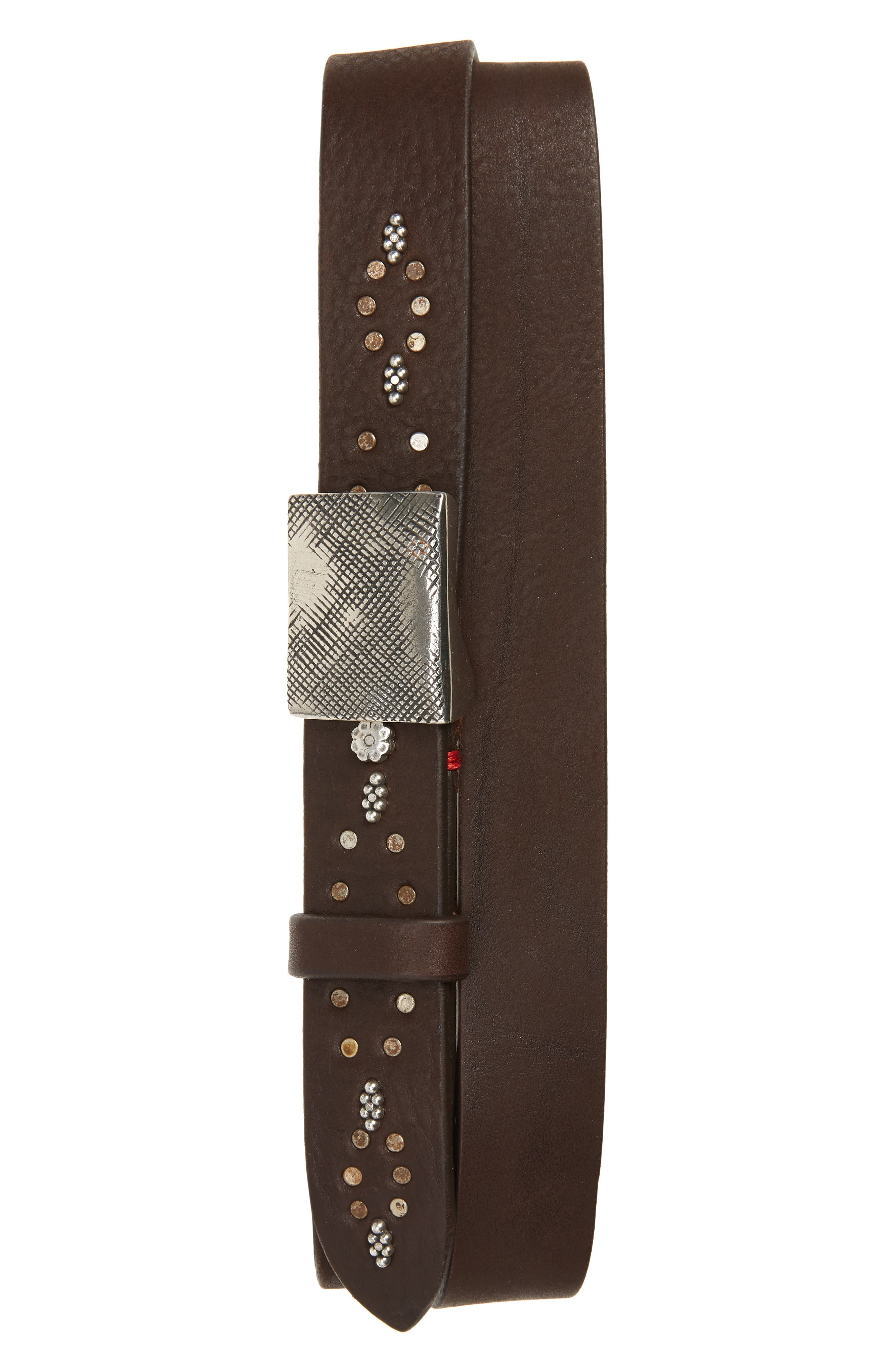 Scurrio Plate Buckle Leather Belt,                             Main thumbnail 1, color,                             BROWN