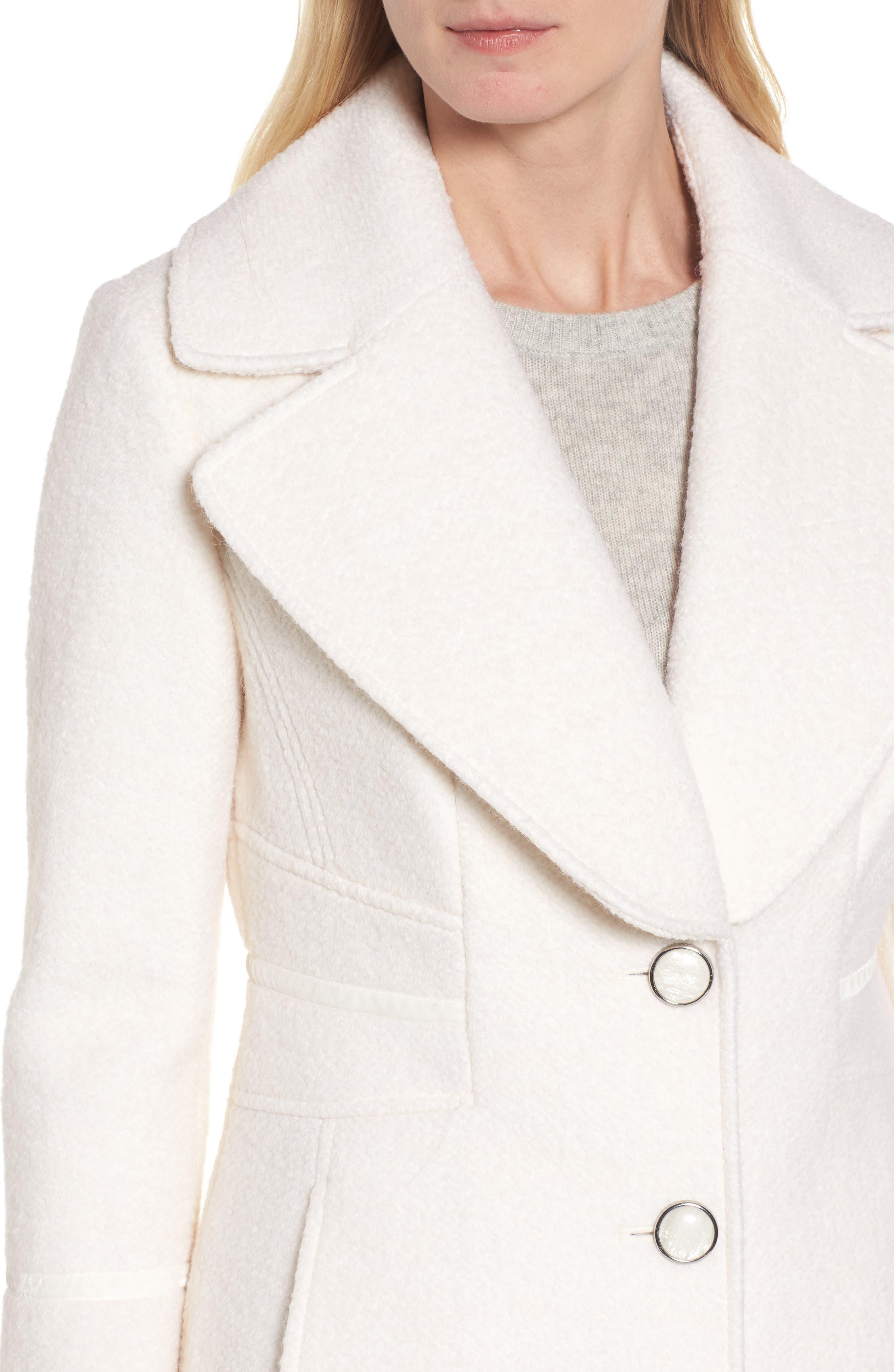 Velvet Trim Bell Sleeve Coat,                             Alternate thumbnail 4, color,                             101