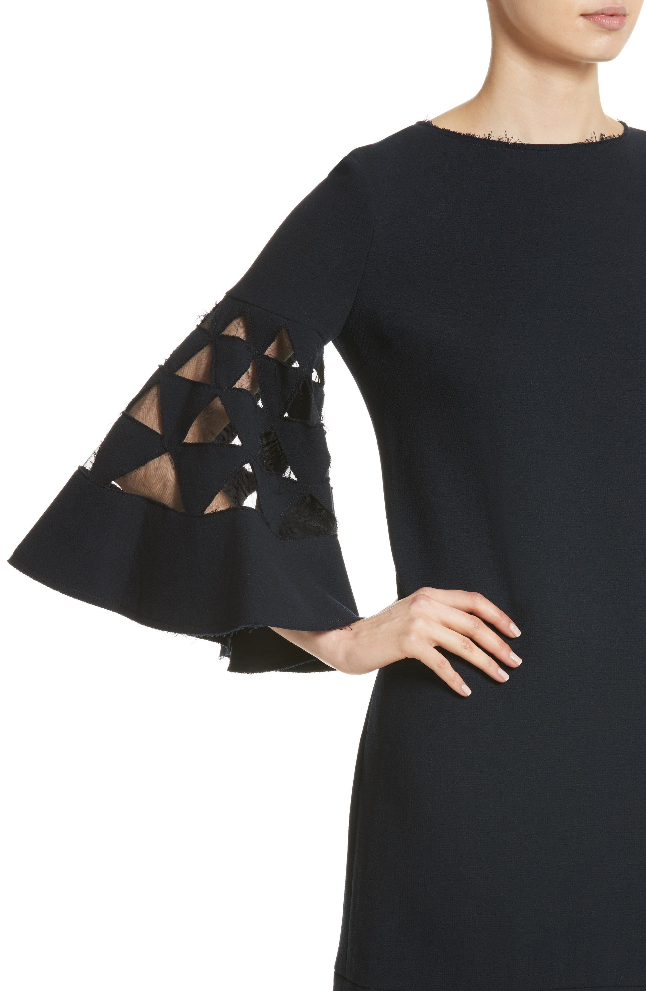Cutout Bell Sleeve Stretch Wool Crepe Shift Dress,                             Alternate thumbnail 4, color,                             415