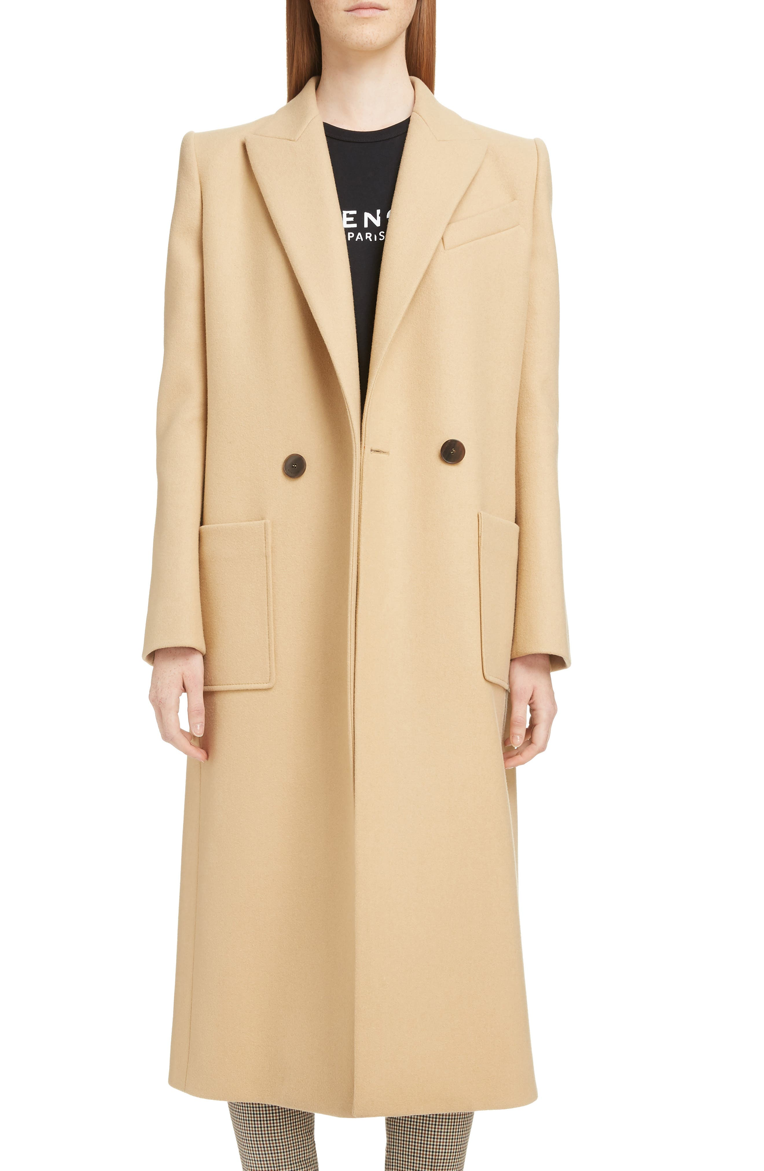 GIVENCHY,                             Double Breasted Wool Coat,                             Main thumbnail 1, color,                             250-BEIGE