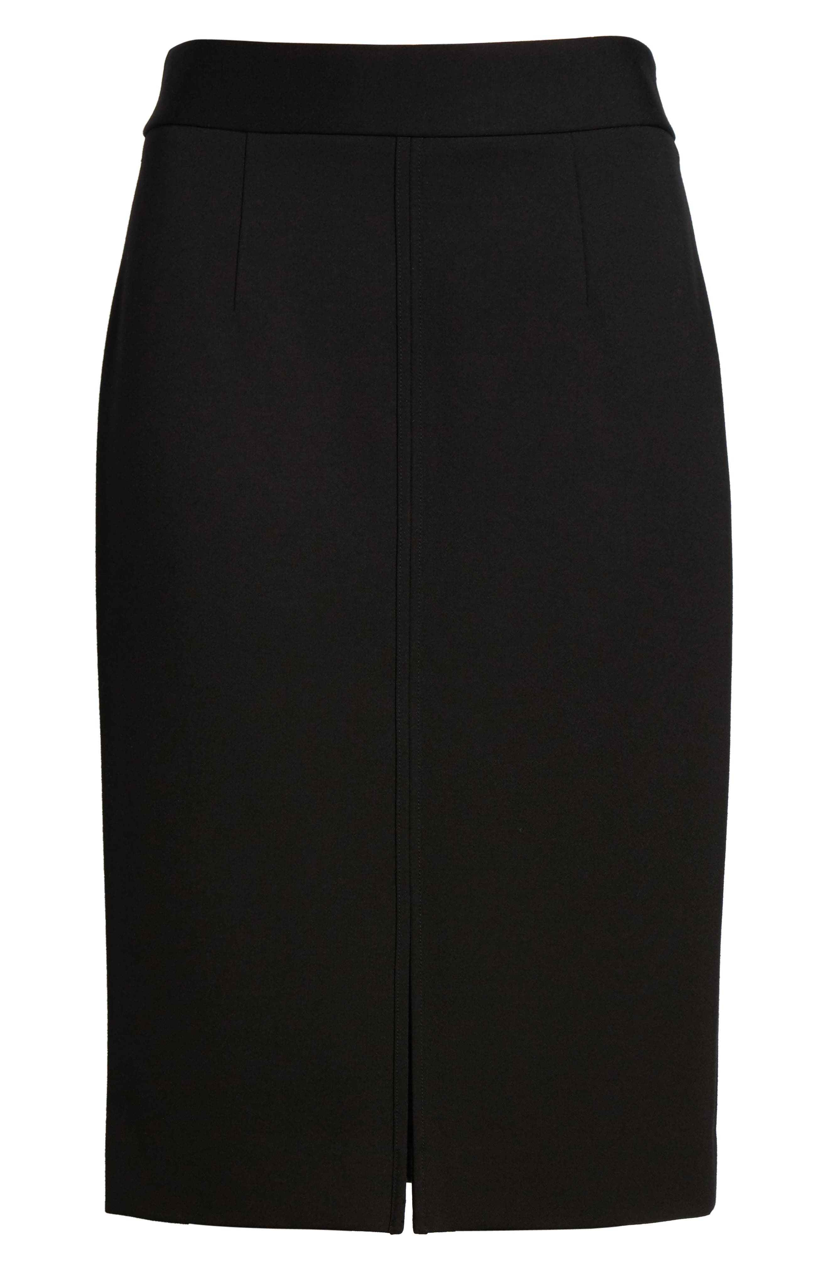 Ponte Knit Pencil Skirt,                             Alternate thumbnail 6, color,                             001