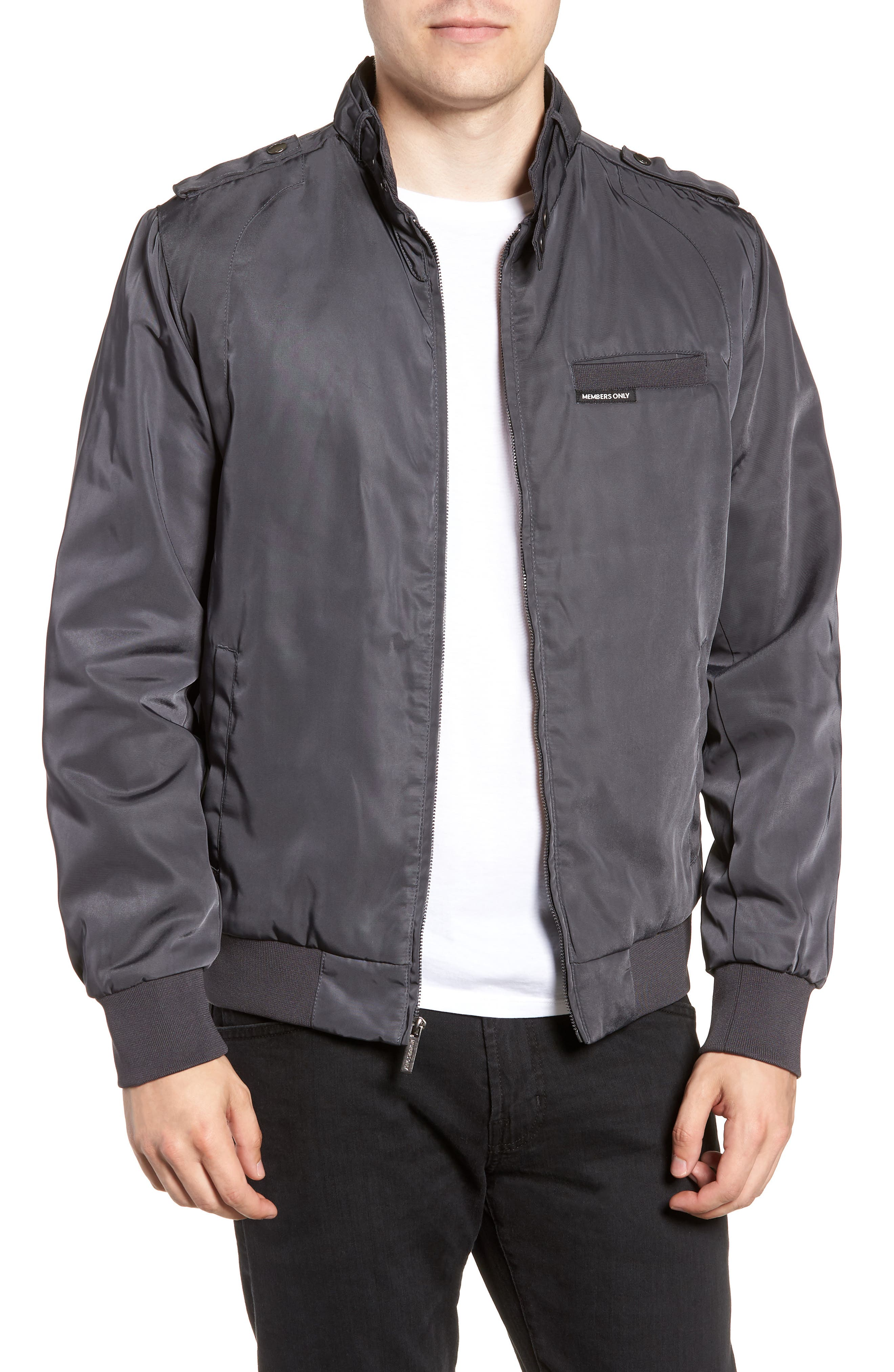 Iconic Racer Jacket,                         Main,                         color, CHARCOAL