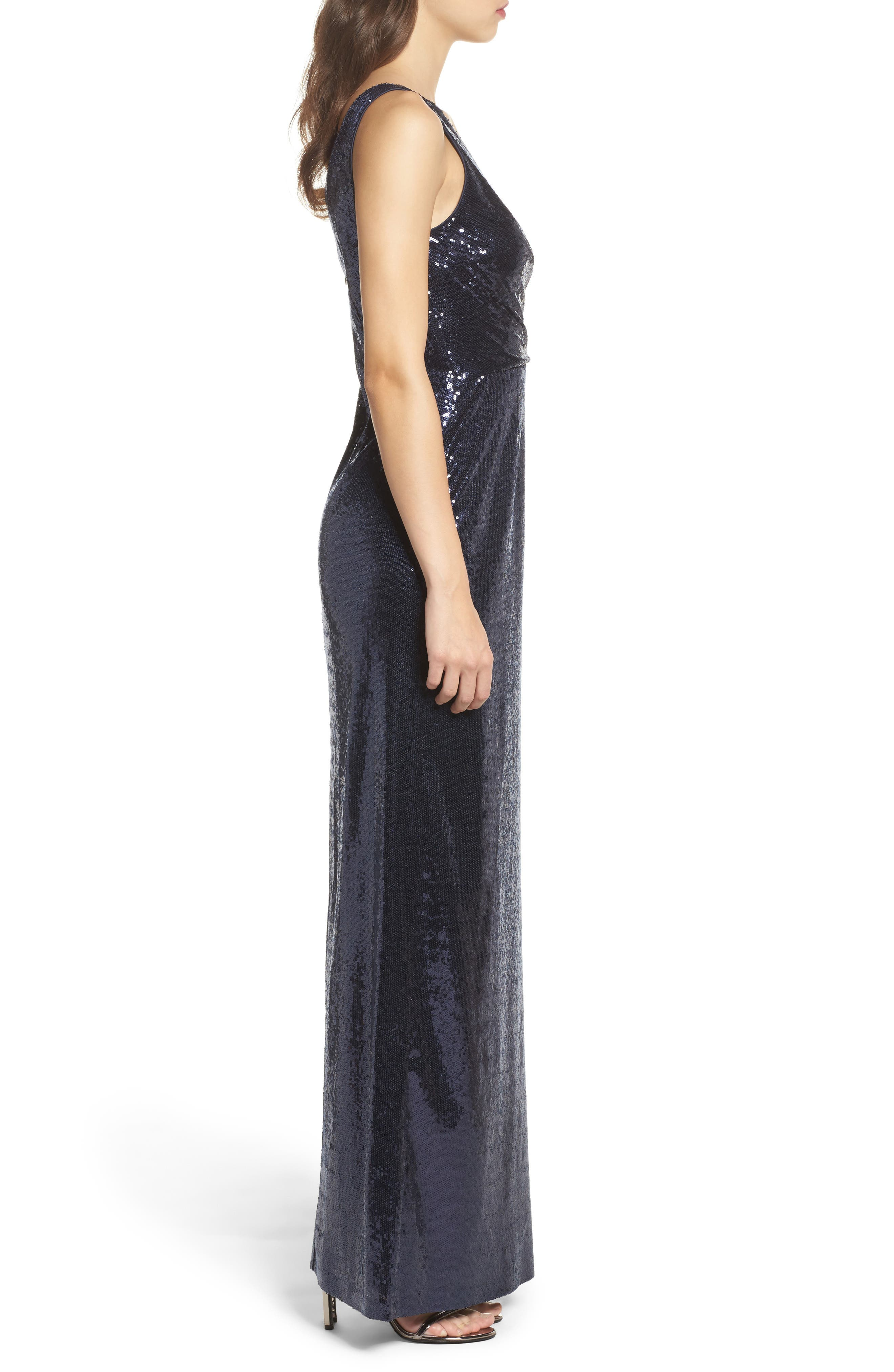 Sequin Side Draped Gown,                             Alternate thumbnail 3, color,                             410