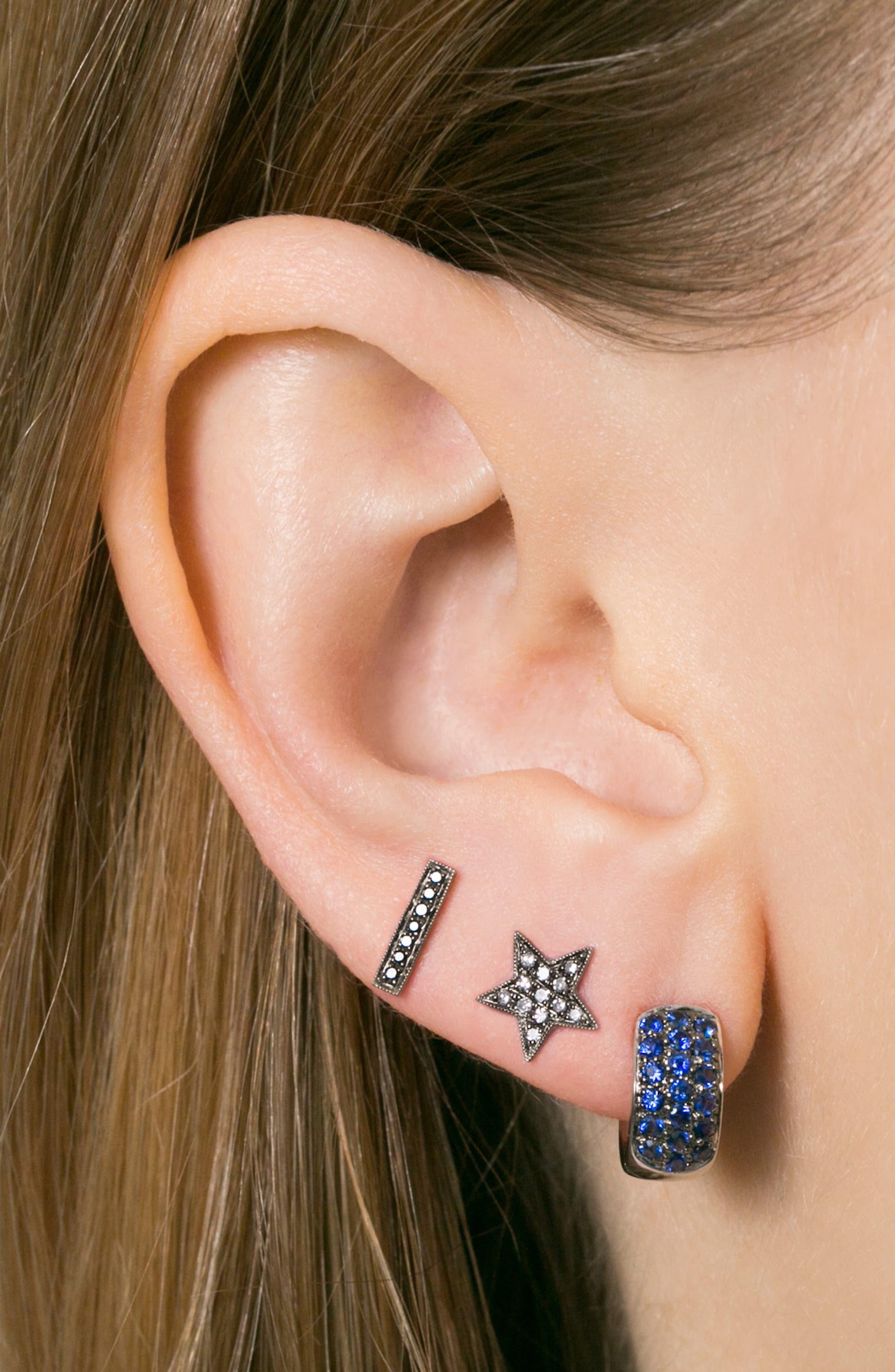 Sylvie Rose Diamond Bar Stud Earrings,                             Alternate thumbnail 2, color,                             BLACK RHODIUM