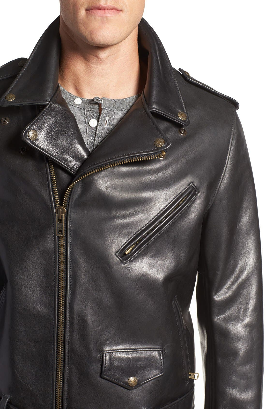 Waxy Leather Moto Jacket,                             Alternate thumbnail 4, color,                             BLACK
