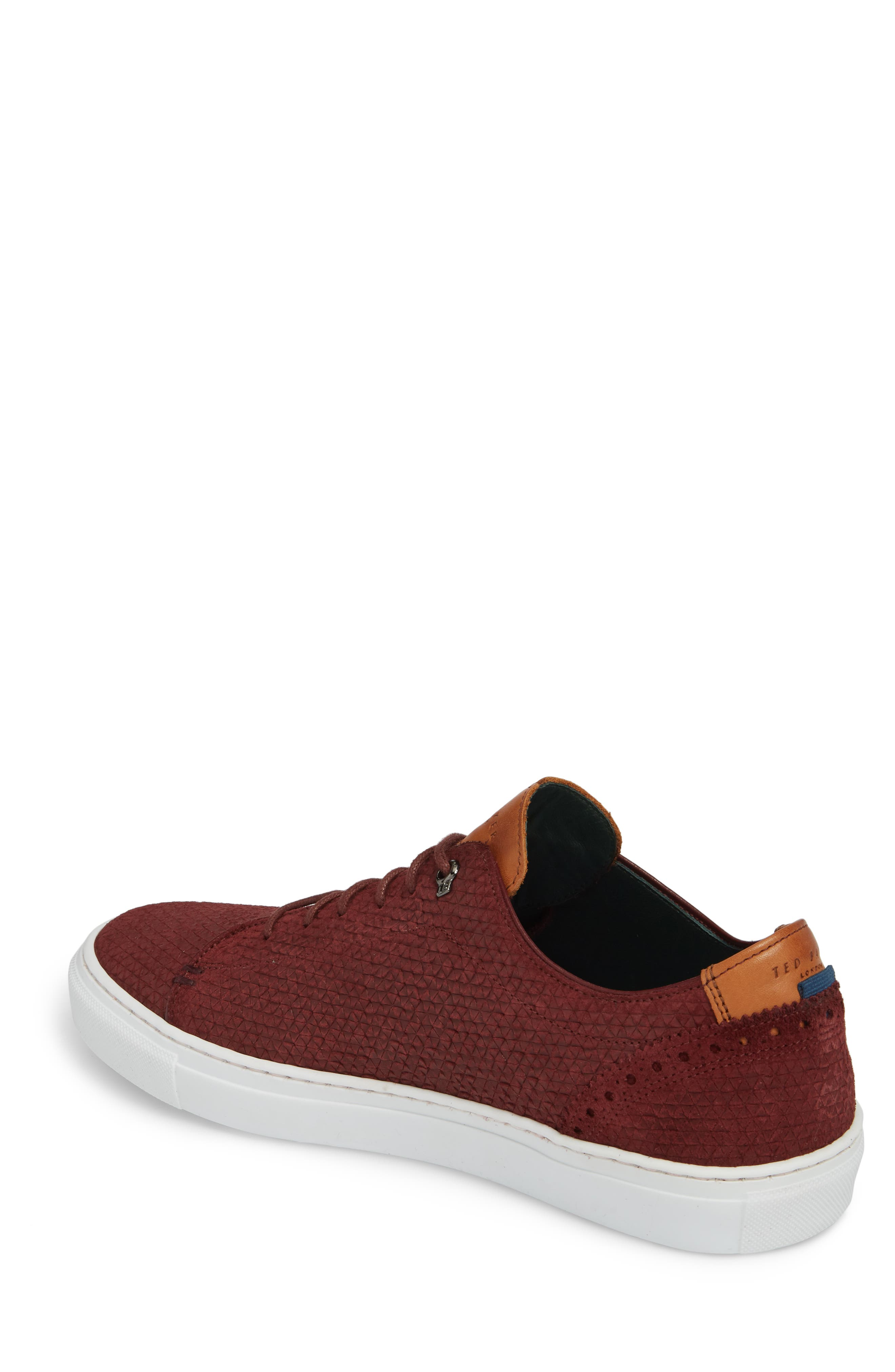 Duukes Embossed Low Top Sneaker,                             Alternate thumbnail 2, color,                             DARK PINK EMBOSSED SUEDE