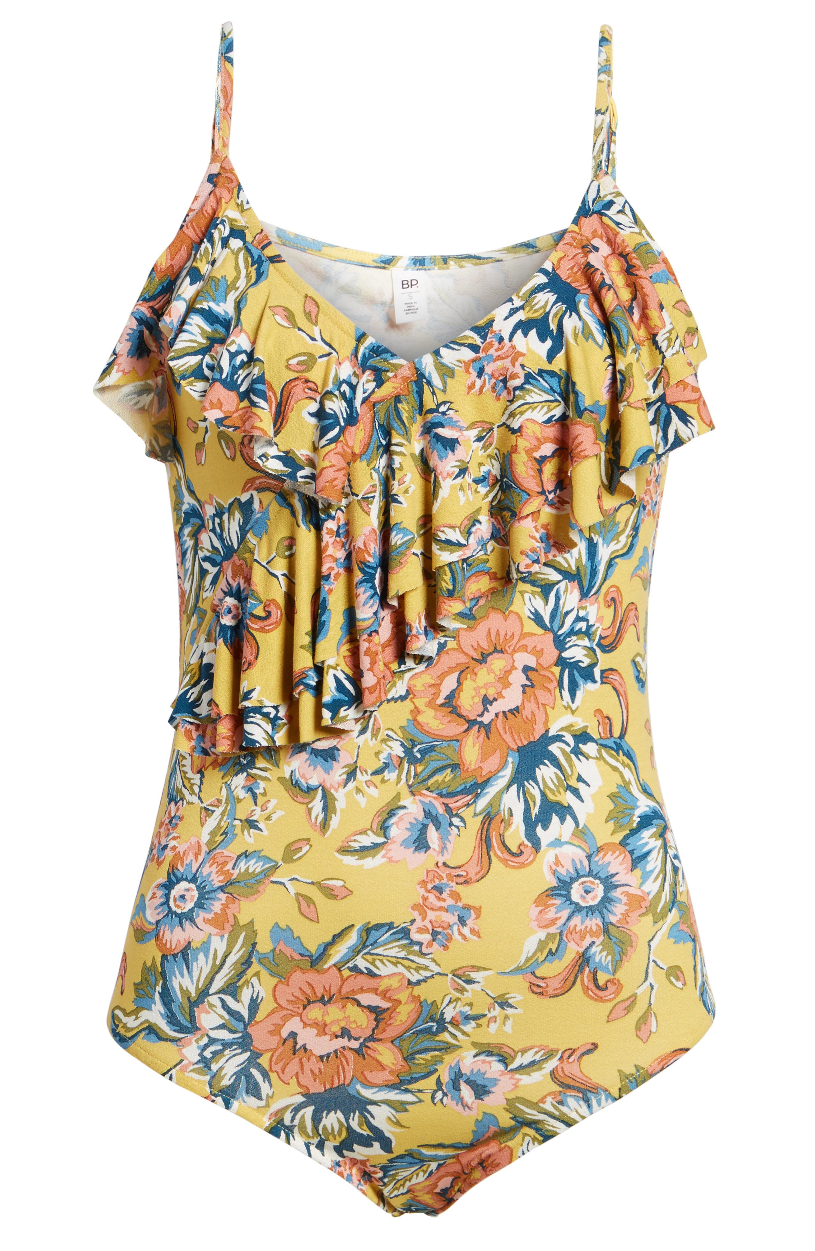 Print Ruffle Bodysuit,                             Alternate thumbnail 6, color,                             YELLOW OCHRE TAPESTRY FLORAL