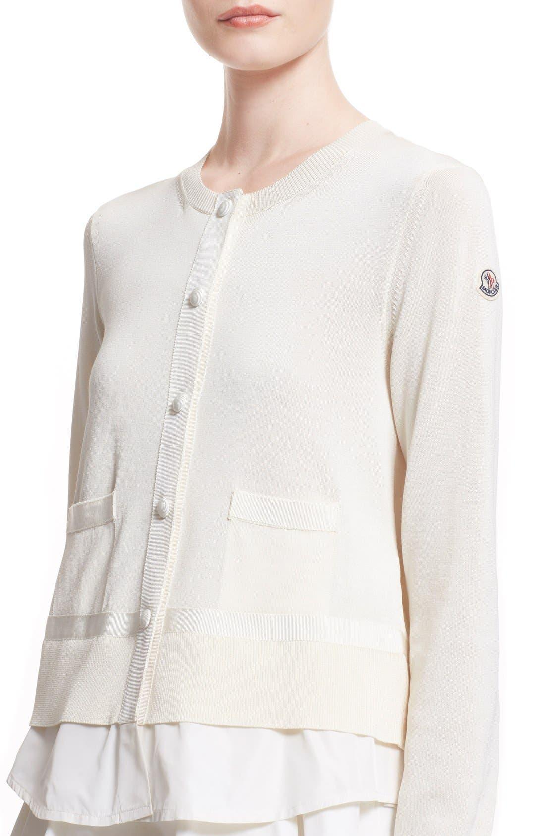 'Maglia' Tricot Button Cardigan,                             Alternate thumbnail 4, color,                             WHITE