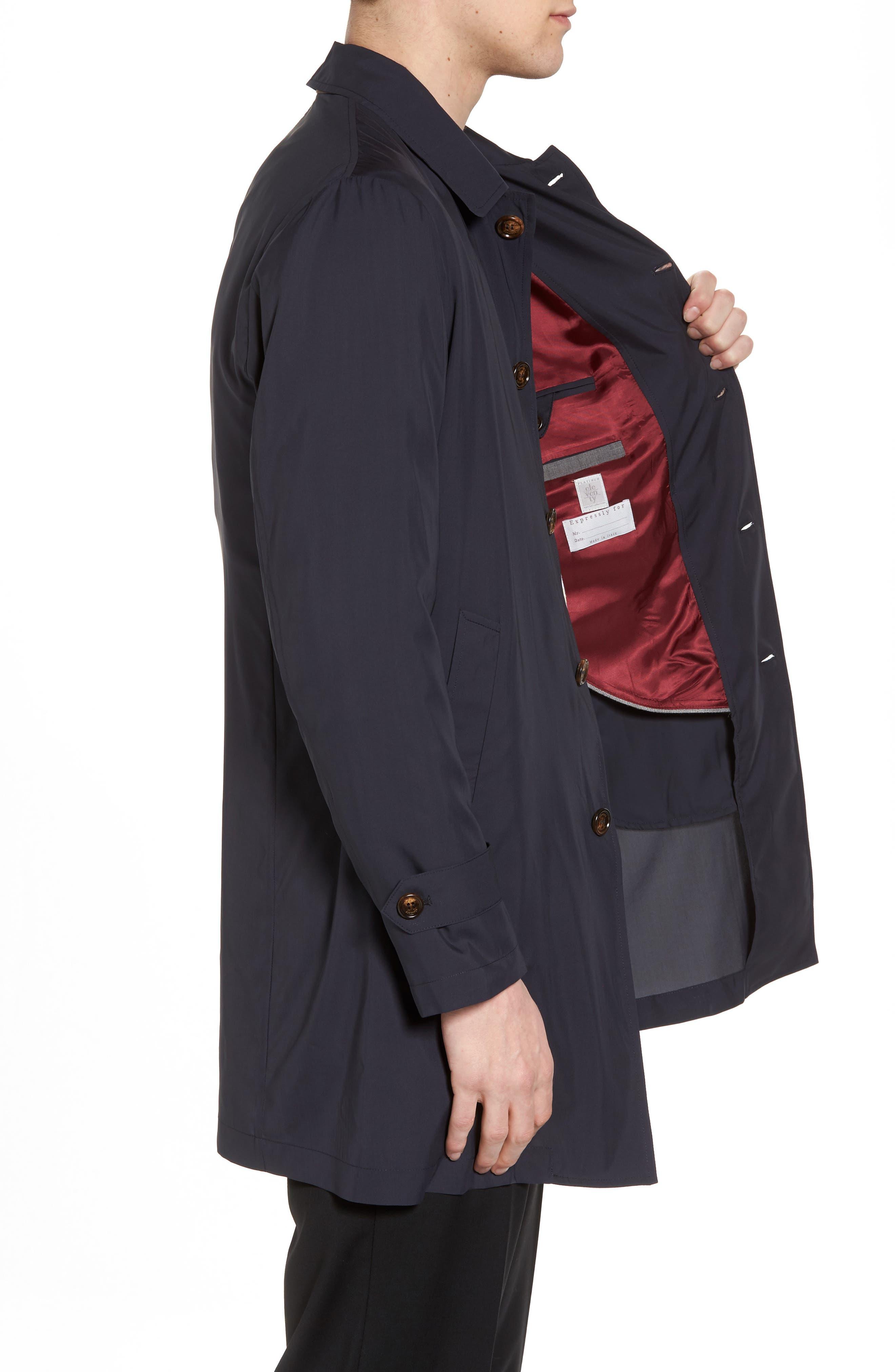 Trim Fit Water-Resistant Silk Topcoat,                             Alternate thumbnail 3, color,                             410