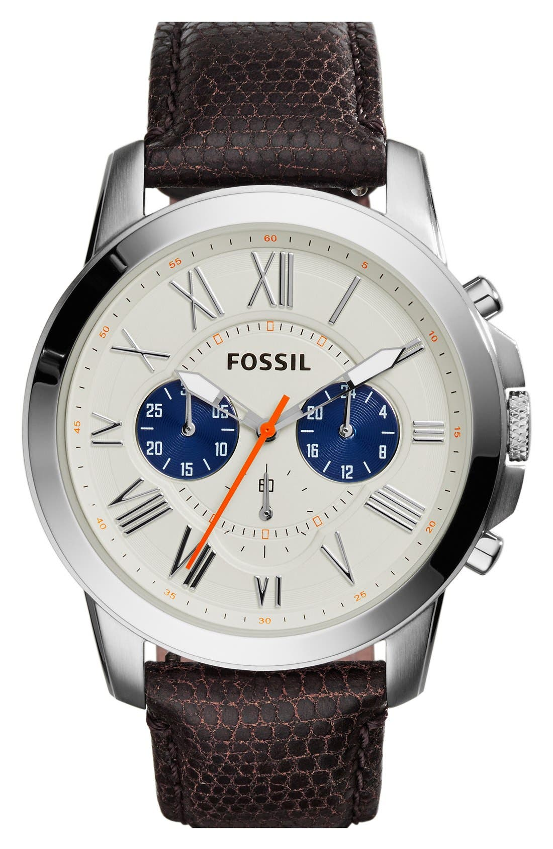 'Grant' Round Chronograph Leather Strap Watch, 44mm,                             Main thumbnail 16, color,