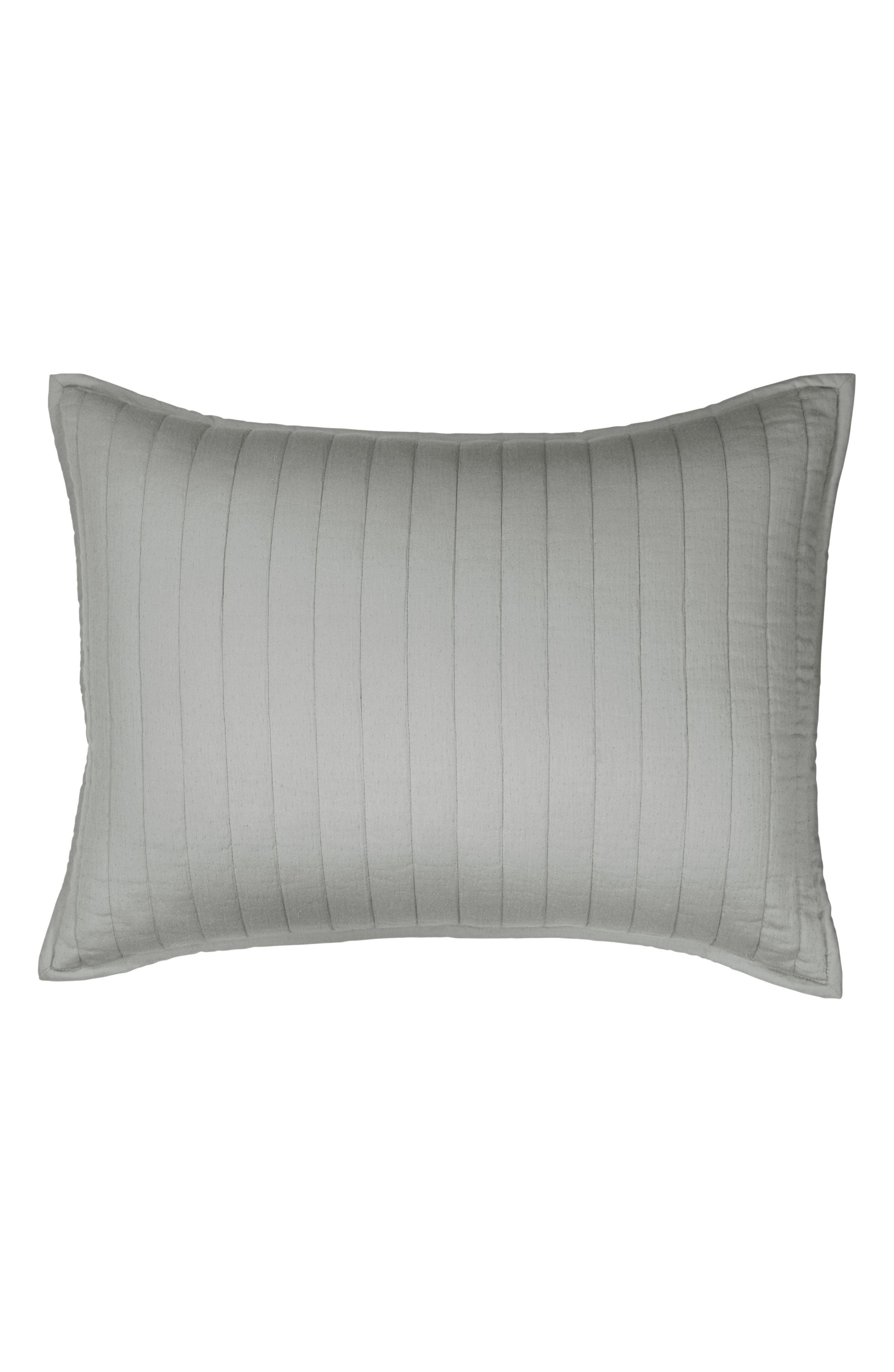 Donna Karan Casual Luxe Pillow Sham,                             Main thumbnail 1, color,                             GREY