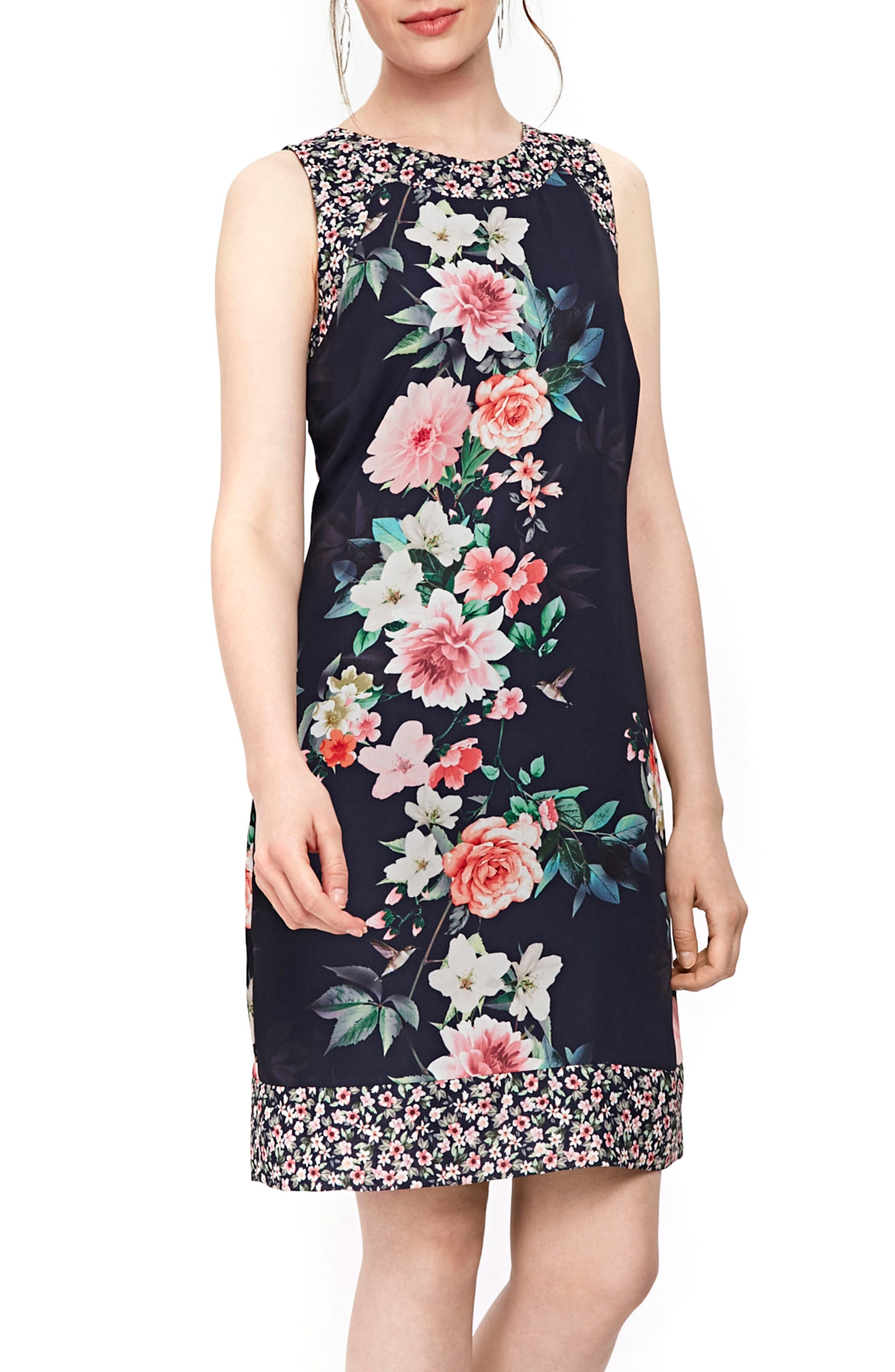 Peony Print Tank Dress,                             Alternate thumbnail 3, color,                             NAVY BLUE