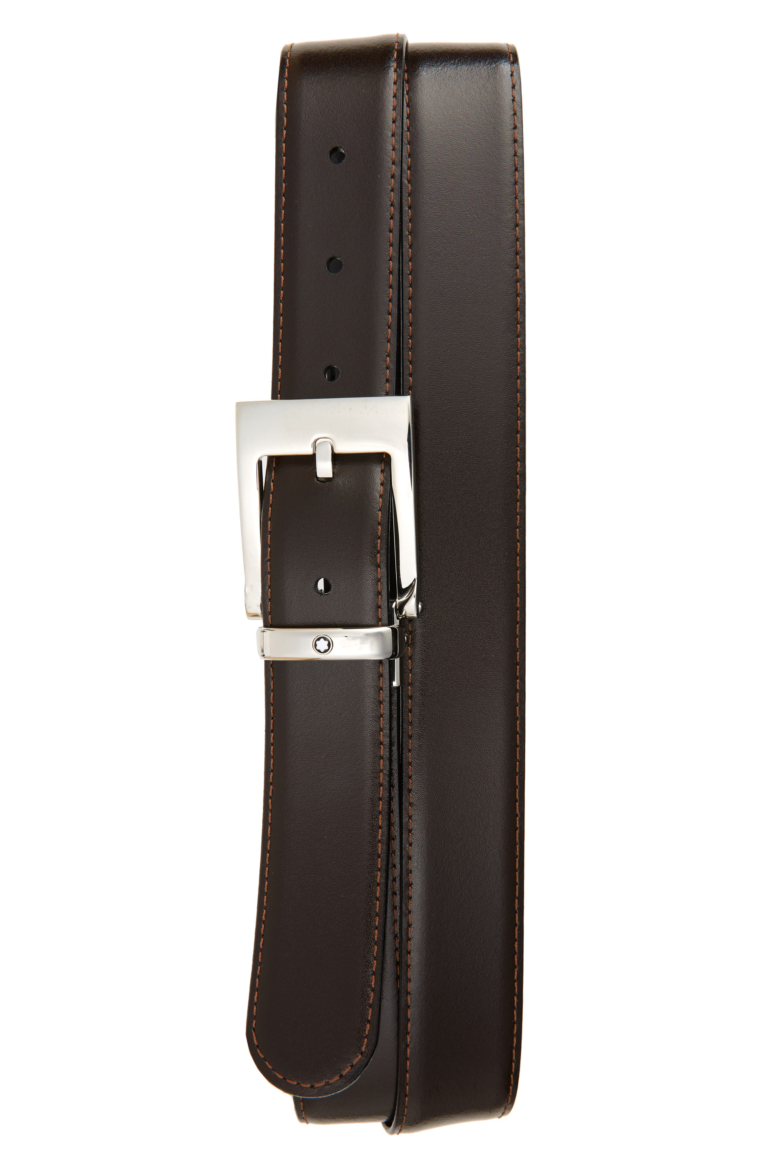Square Buckle Reversible Leather Belt,                             Alternate thumbnail 2, color,                             BLACK/ BROWN