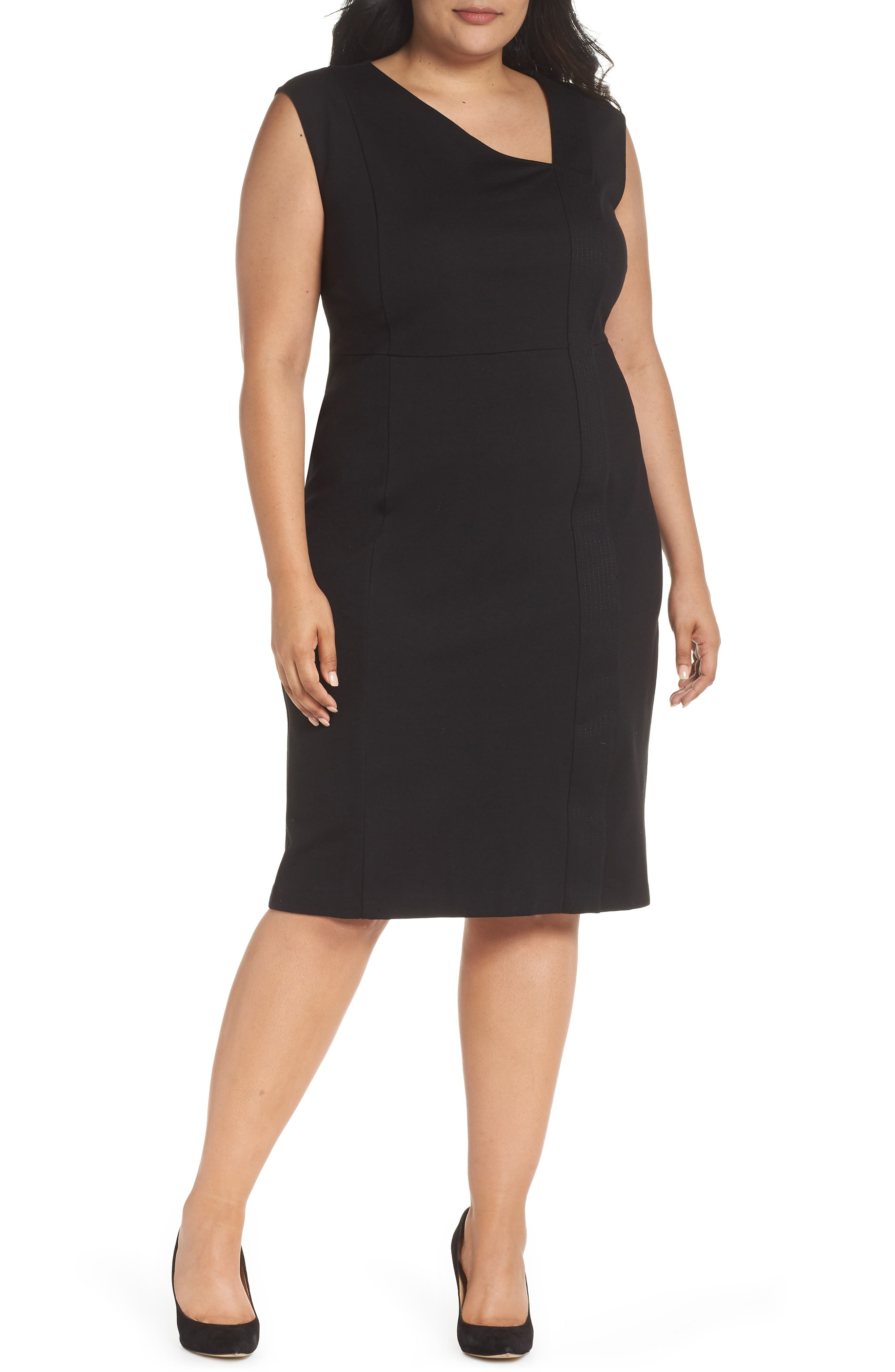 Asymmetrical Neck Sheath Dress,                             Main thumbnail 1, color,                             001