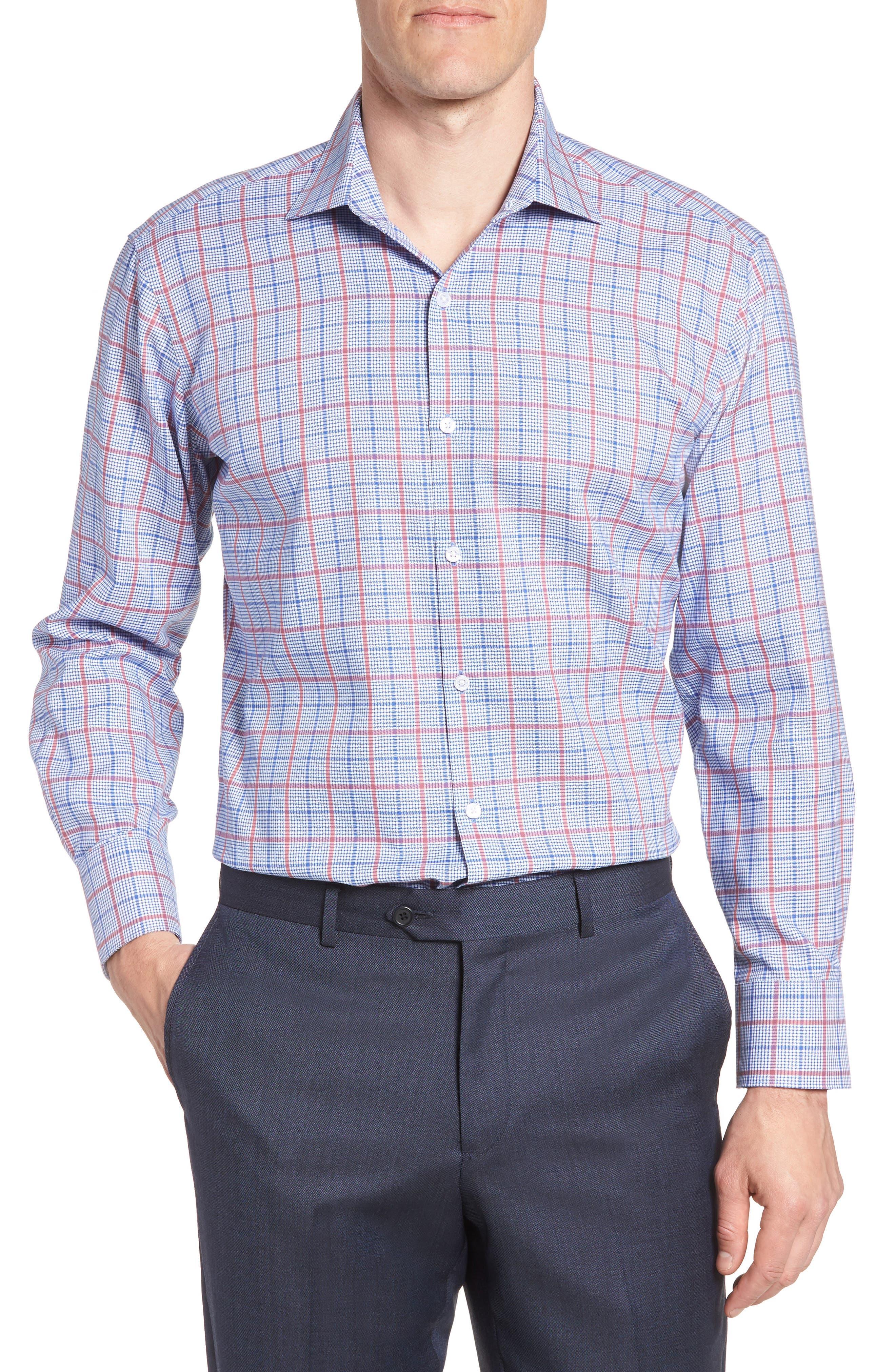 Kai Trim Fit Check Dress Shirt,                         Main,                         color, 400