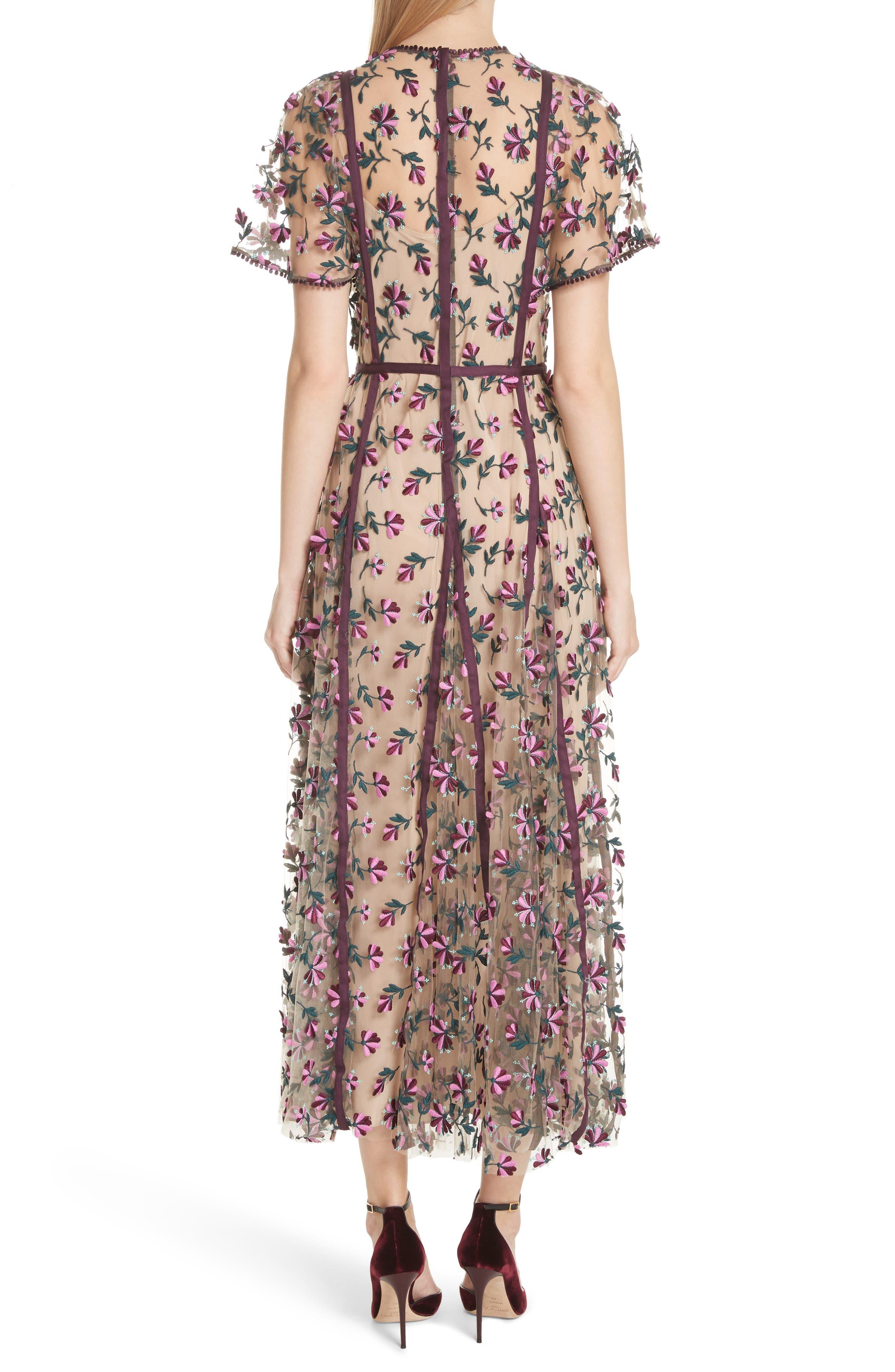 Embroidered Flutter Sleeve Midi Dress,                             Alternate thumbnail 2, color,                             537