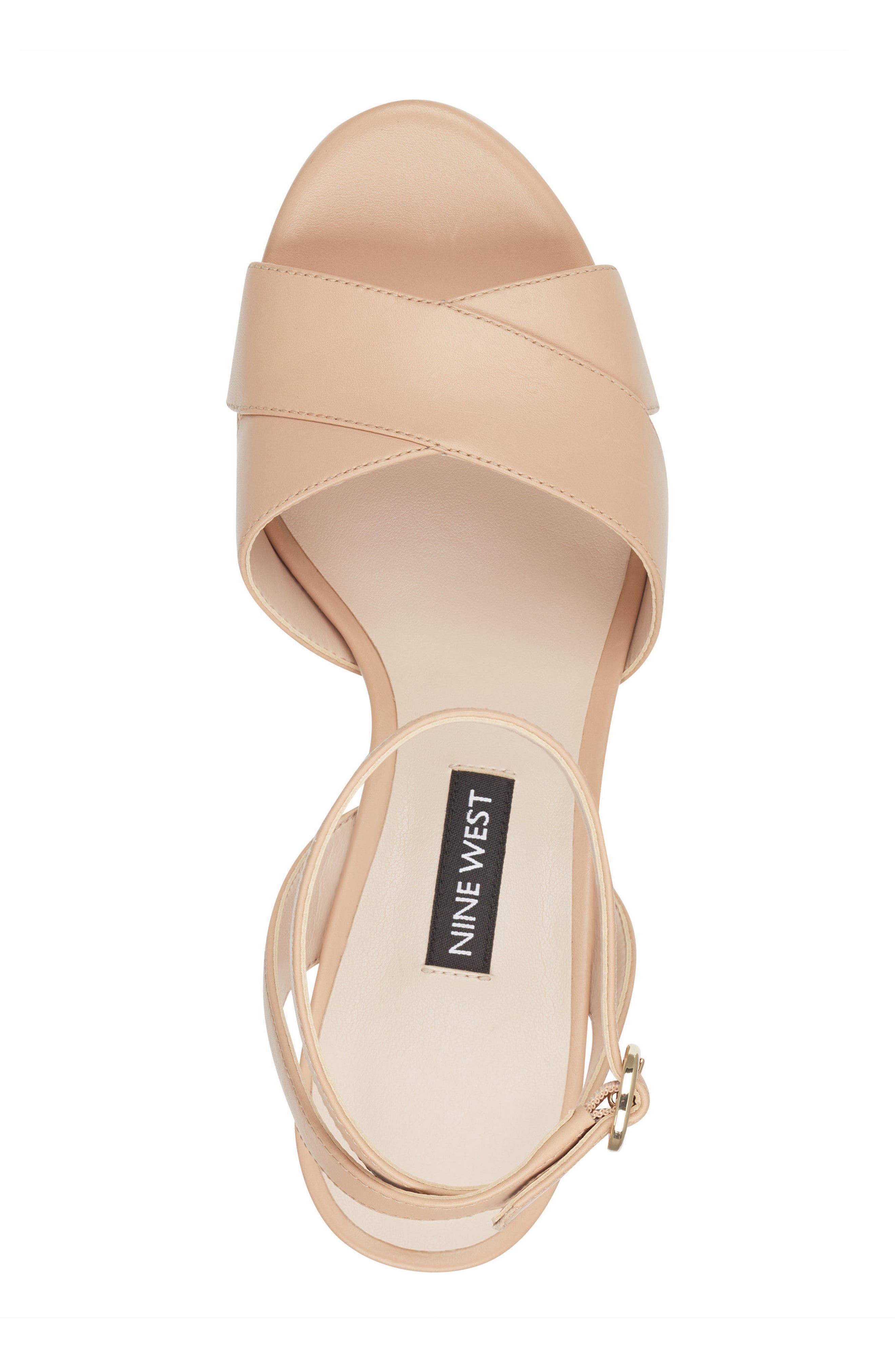 Quisha Ankle Strap Sandal,                             Alternate thumbnail 5, color,                             LIGHT NATURAL LEATHER