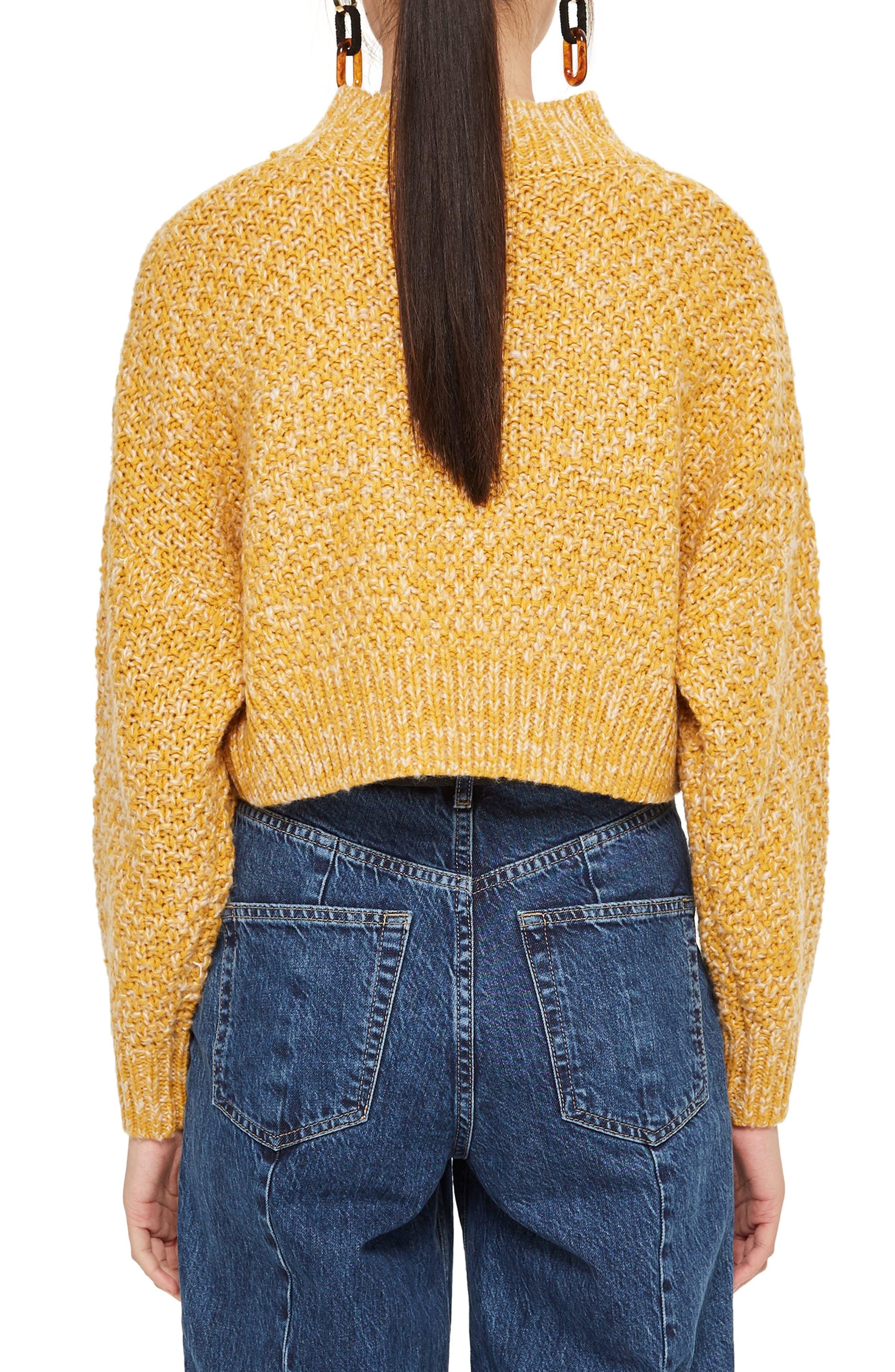 Curve Hem Crop Sweater,                             Alternate thumbnail 2, color,                             MUSTARD
