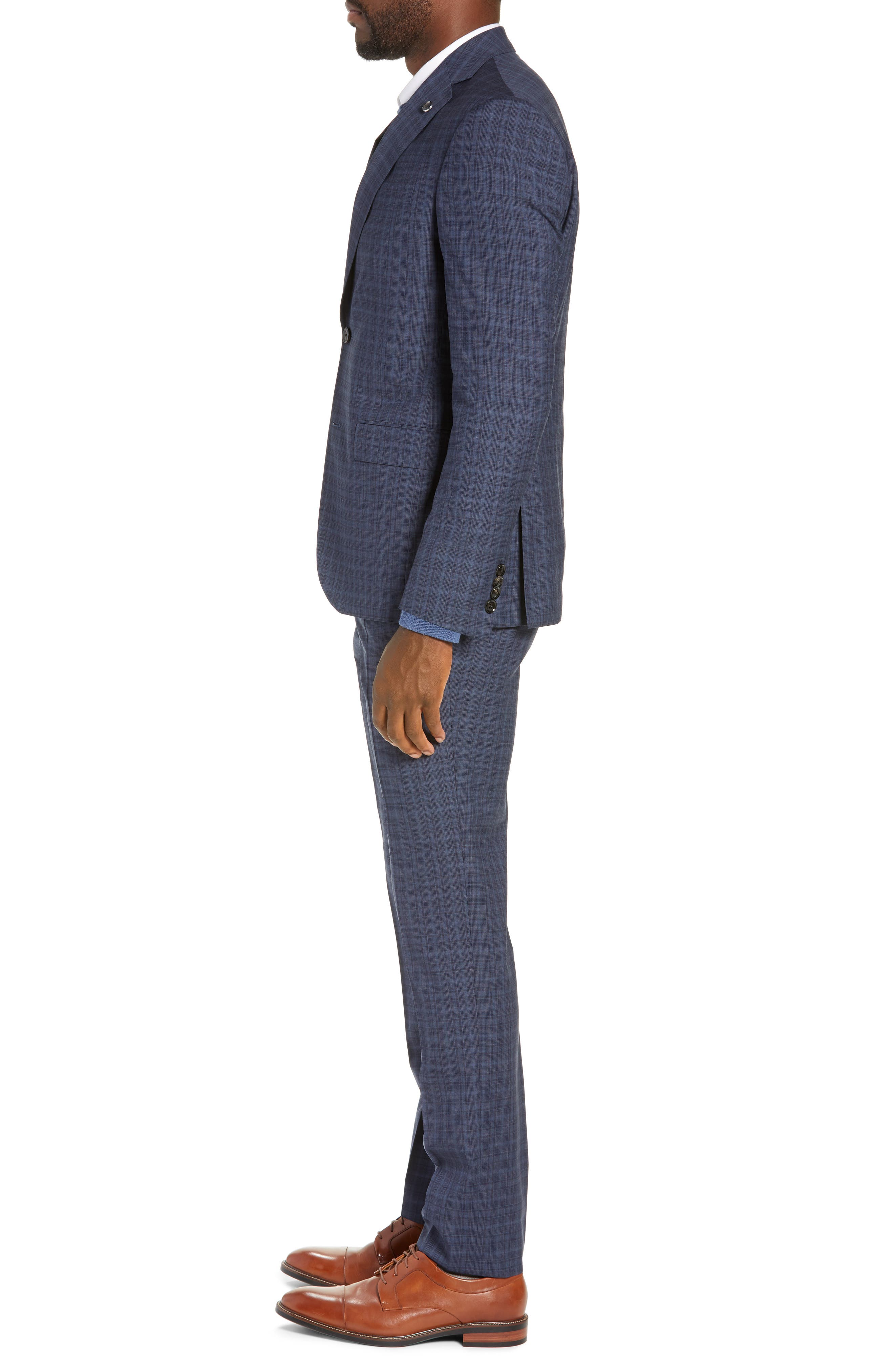 TED BAKER LONDON,                             Roger Slim Fit Plaid Wool Suit,                             Alternate thumbnail 3, color,                             GREY