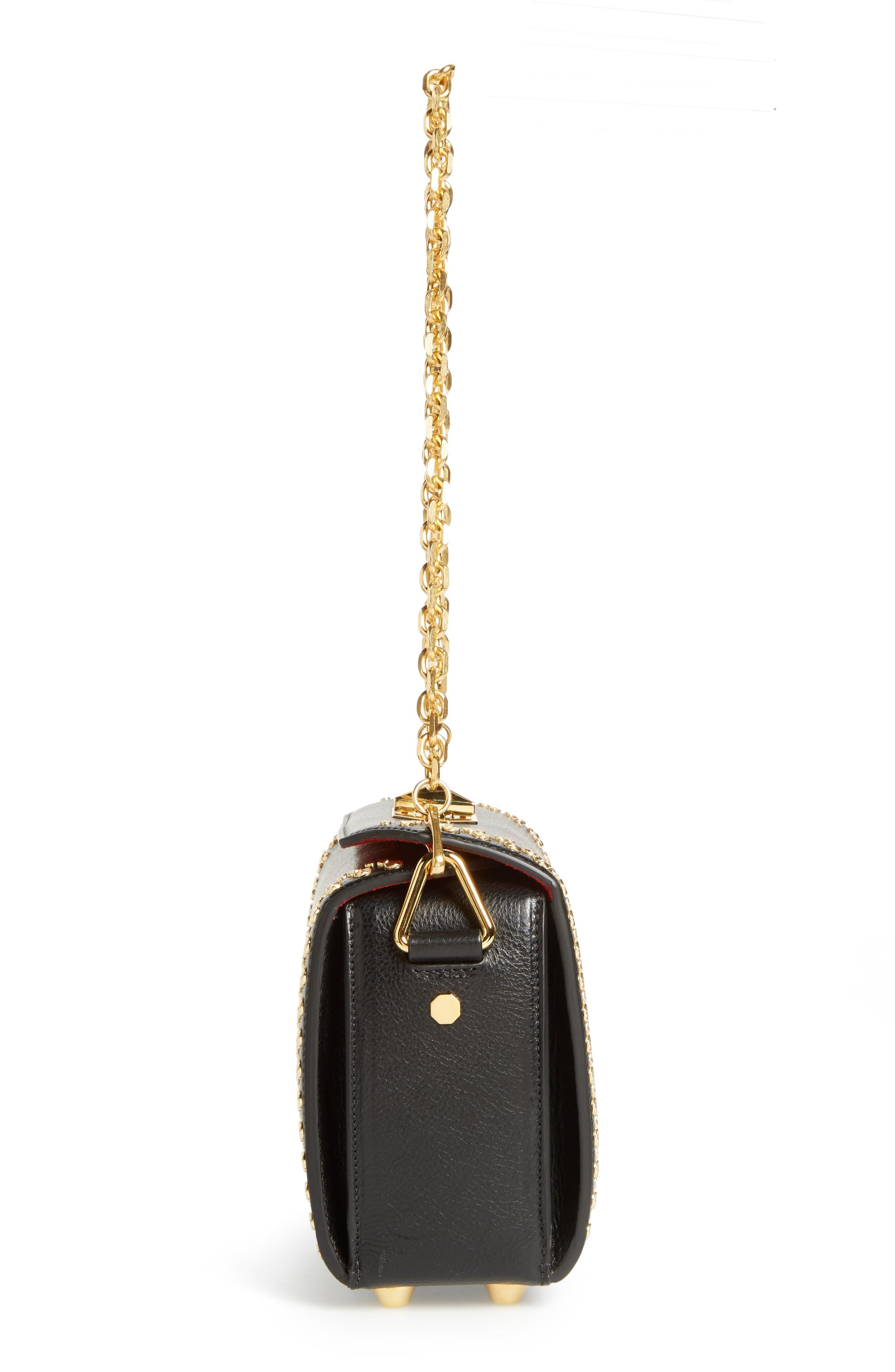 Box Bag 19 Studded Leather Bag,                             Alternate thumbnail 6, color,                             BLACK