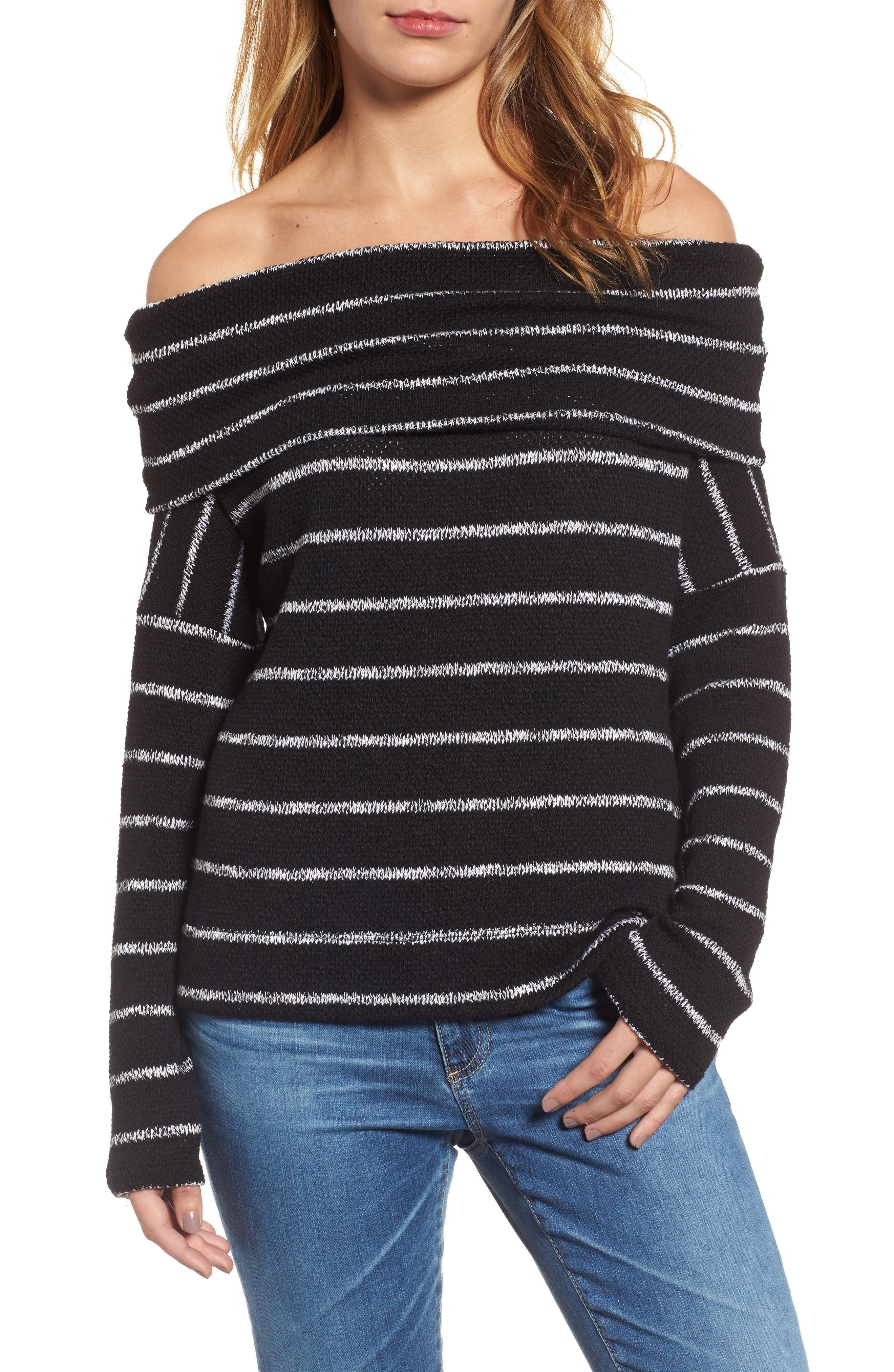 Convertible Off the Shoulder Pullover,                             Main thumbnail 1, color,                             002