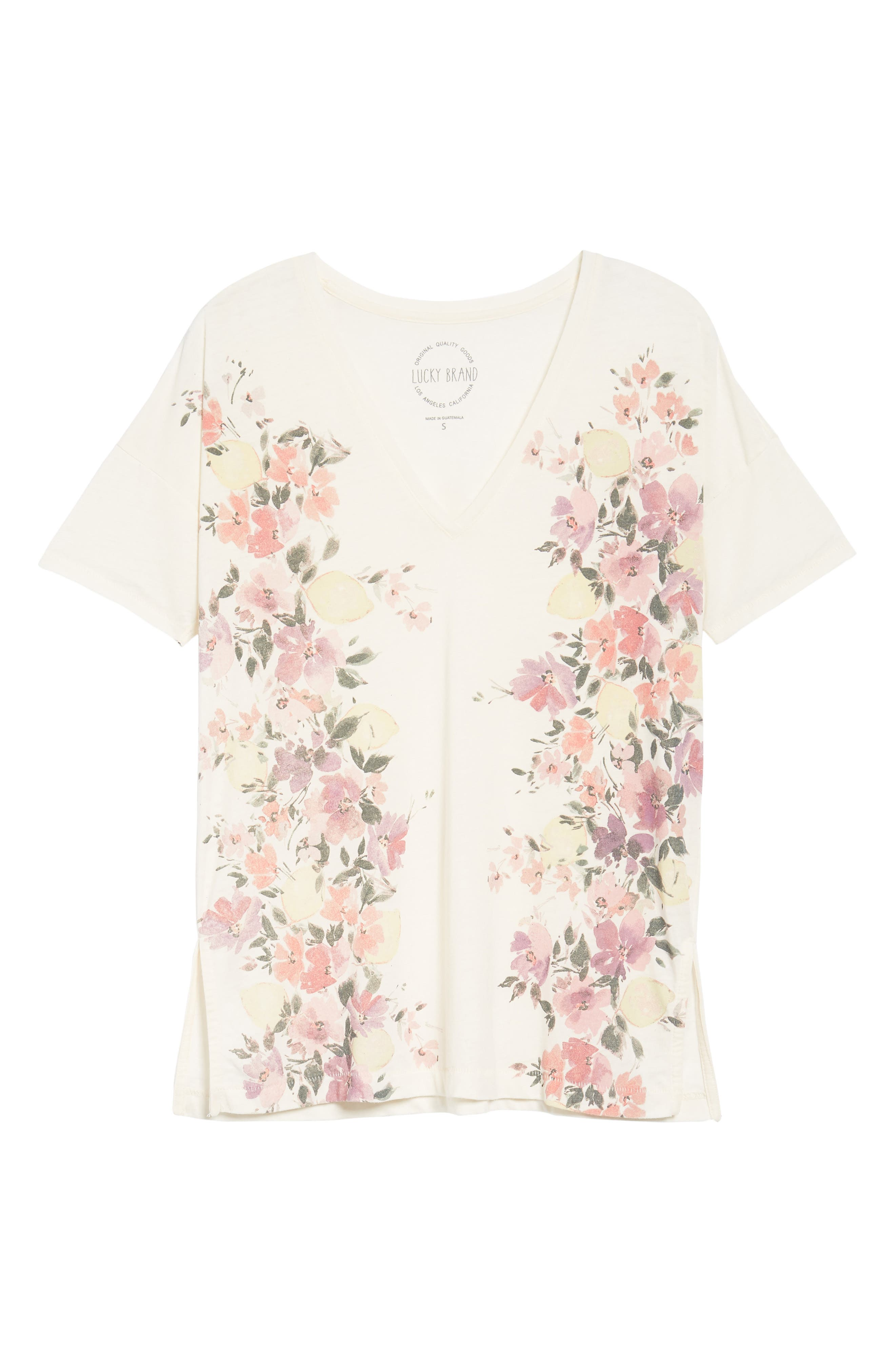 White Floral Tee,                             Alternate thumbnail 6, color,                             900