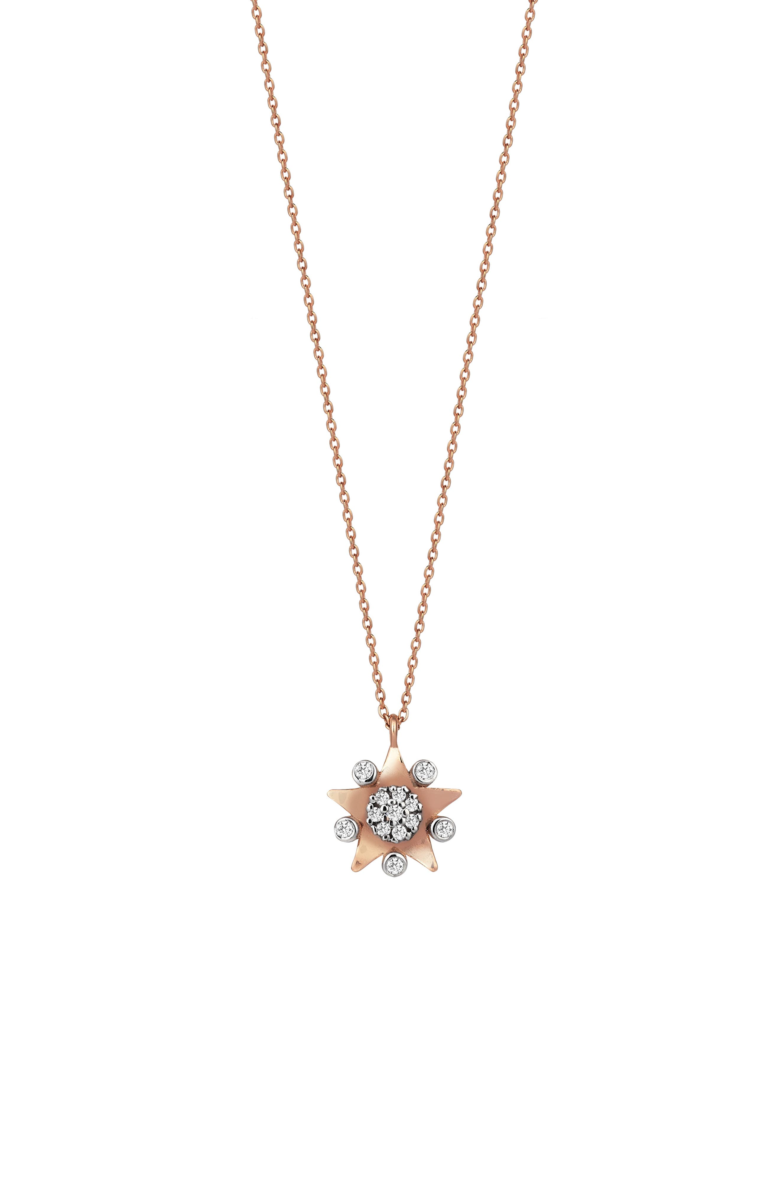 Eclectic Circle Pendant Necklace,                             Main thumbnail 1, color,                             ROSE GOLD