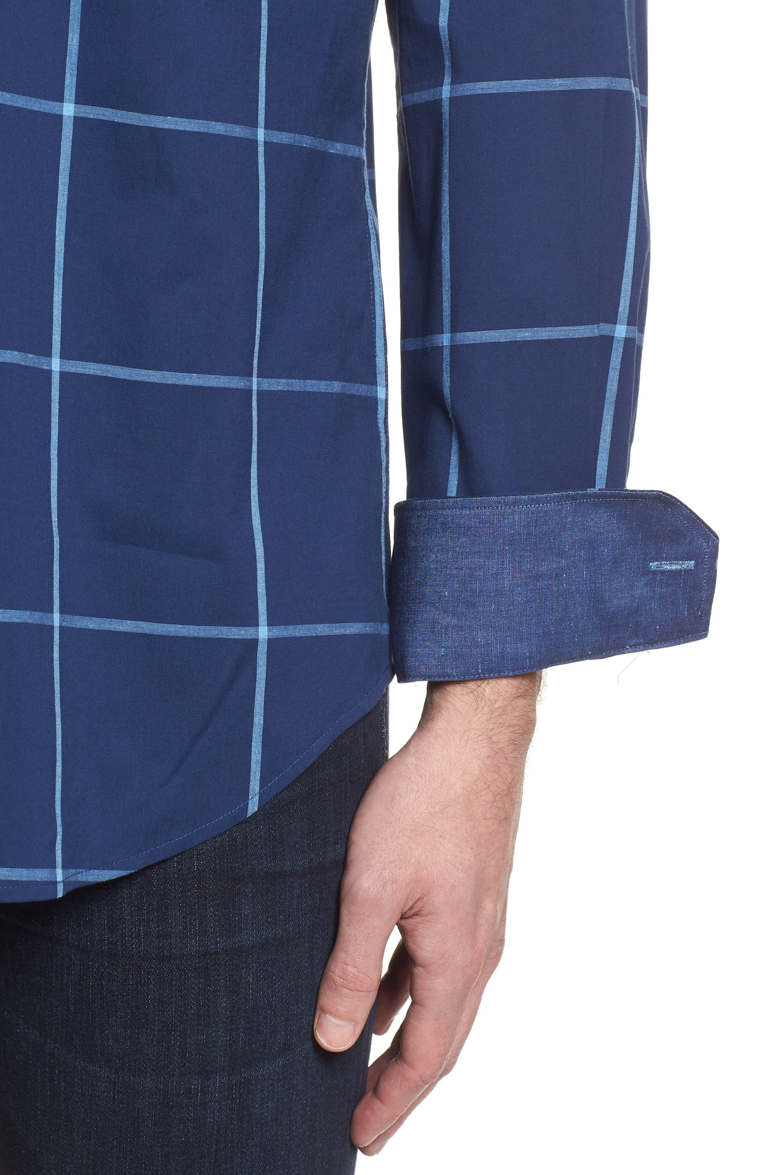 Shaped Fit Windowpane Plaid Sport Shirt,                             Alternate thumbnail 4, color,                             411
