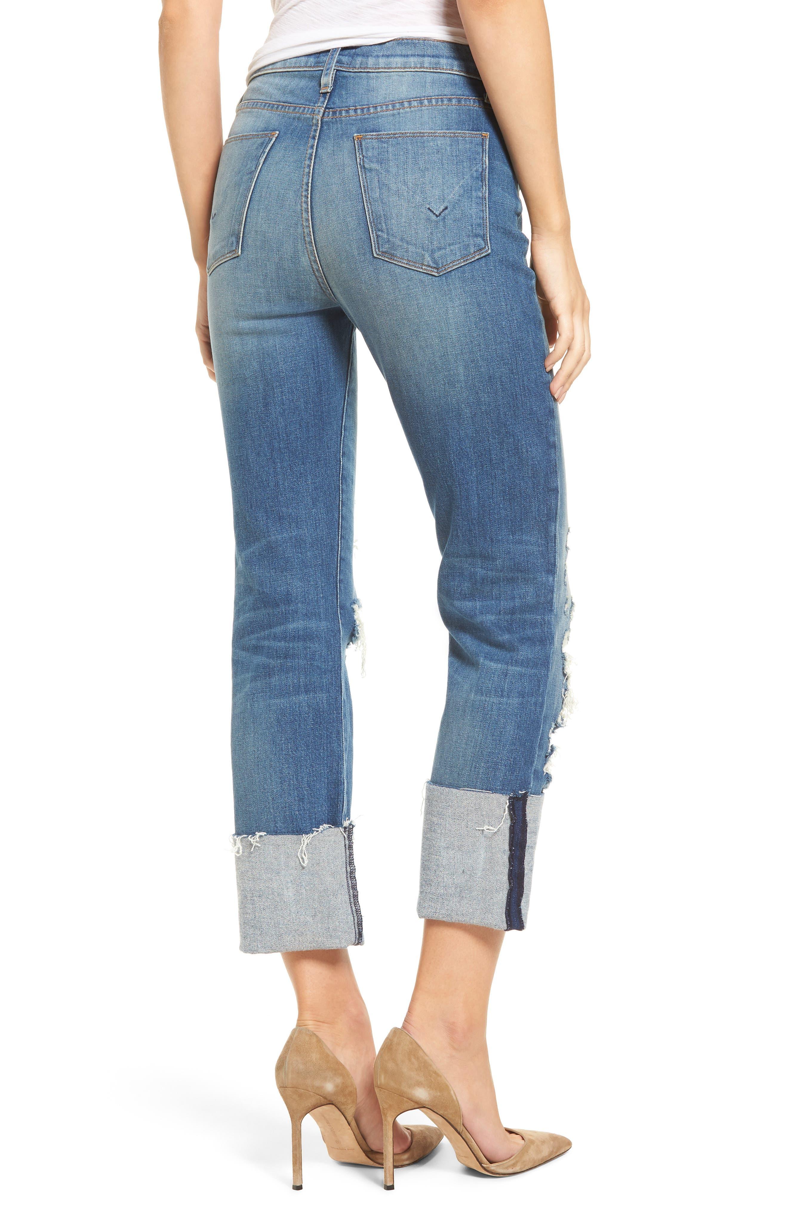 Zoeey High Waist Crop Straight Leg Jeans,                             Alternate thumbnail 6, color,