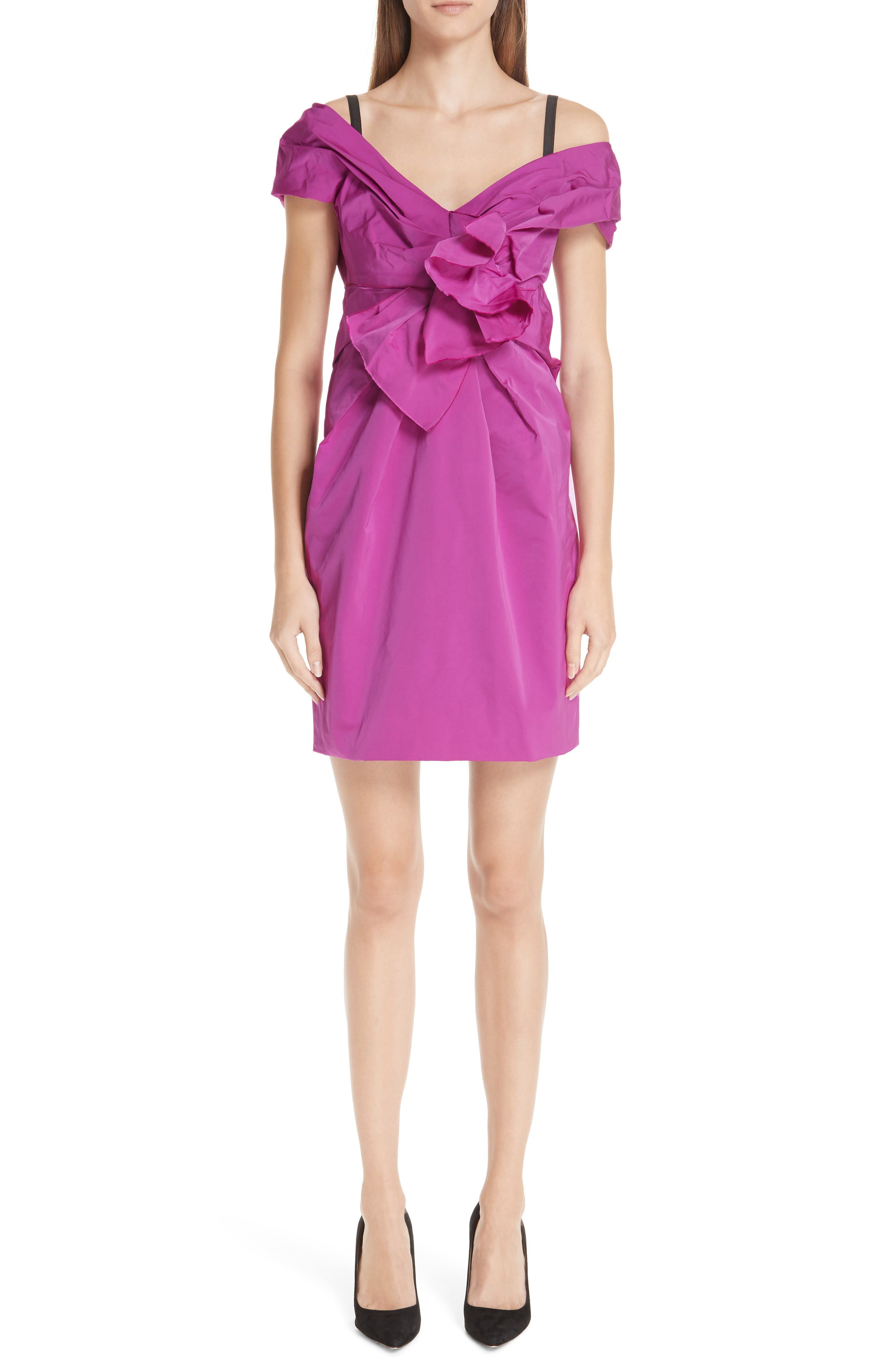 Marc Jacobs Taffeta Off The Shoulder Dress, Pink