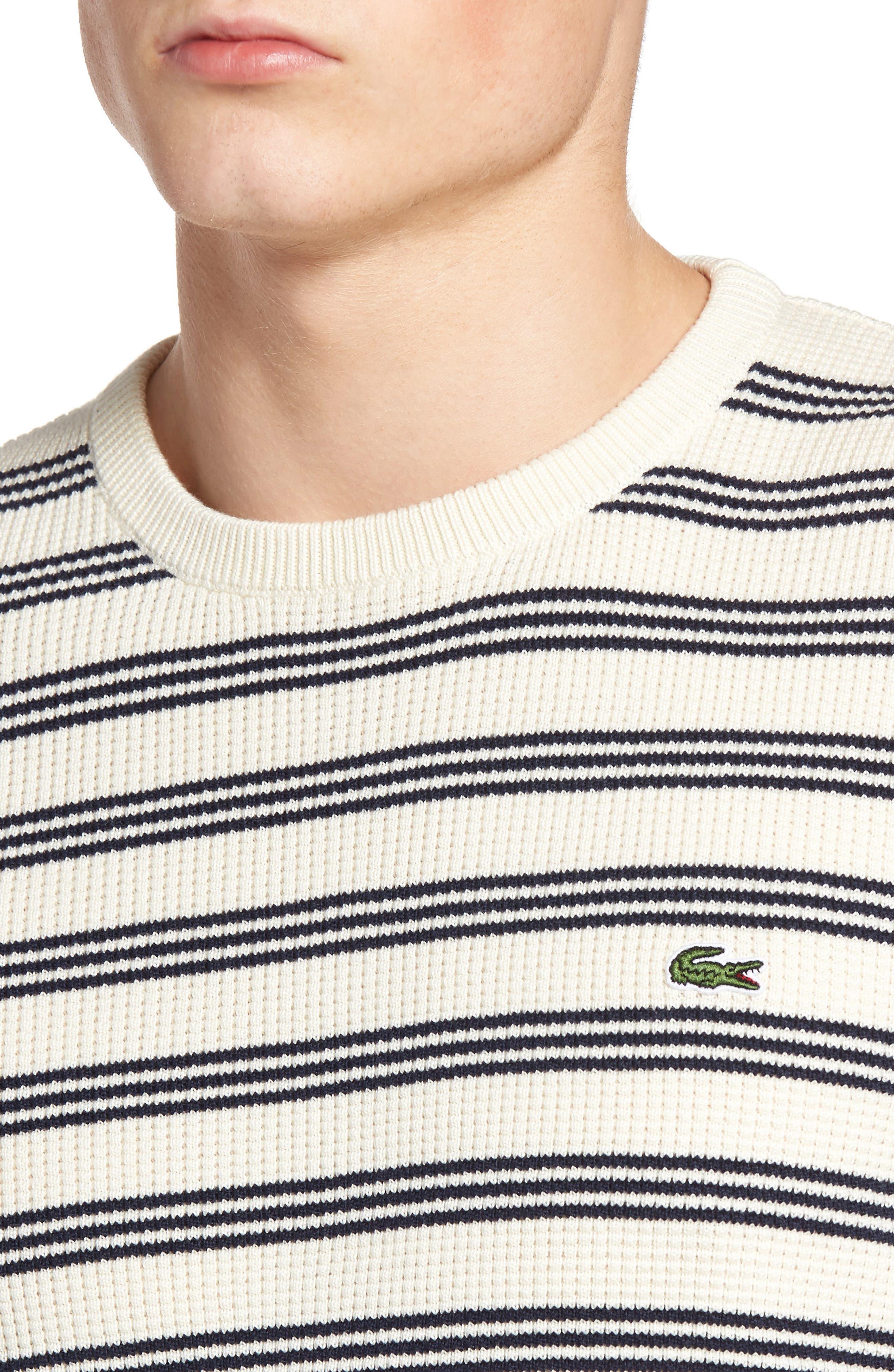 Waffle Stitch Stripe Sweater,                             Alternate thumbnail 4, color,                             028