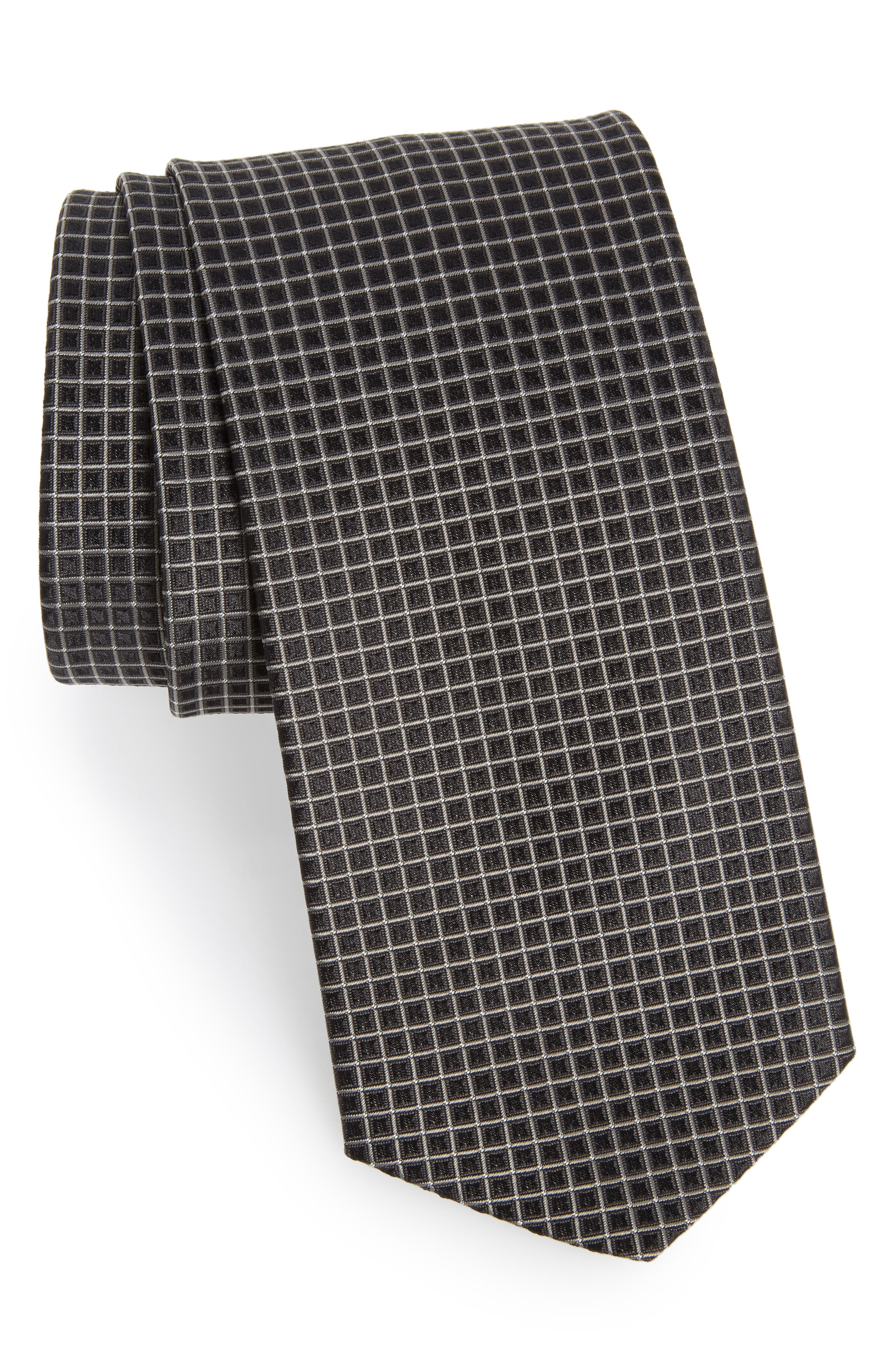Grid Silk Tie,                         Main,                         color, 061