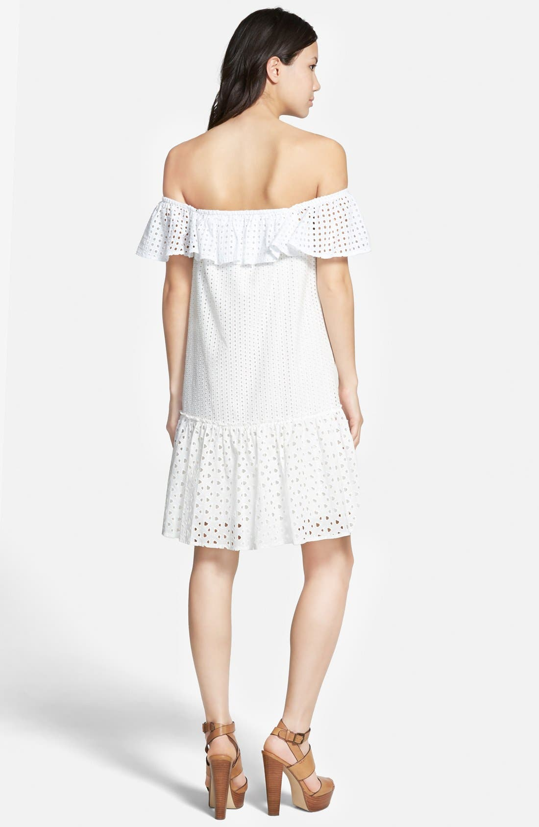 REBECCA MINKOFF,                             'Celestine' Off the Shoulder Dress,                             Alternate thumbnail 3, color,                             100