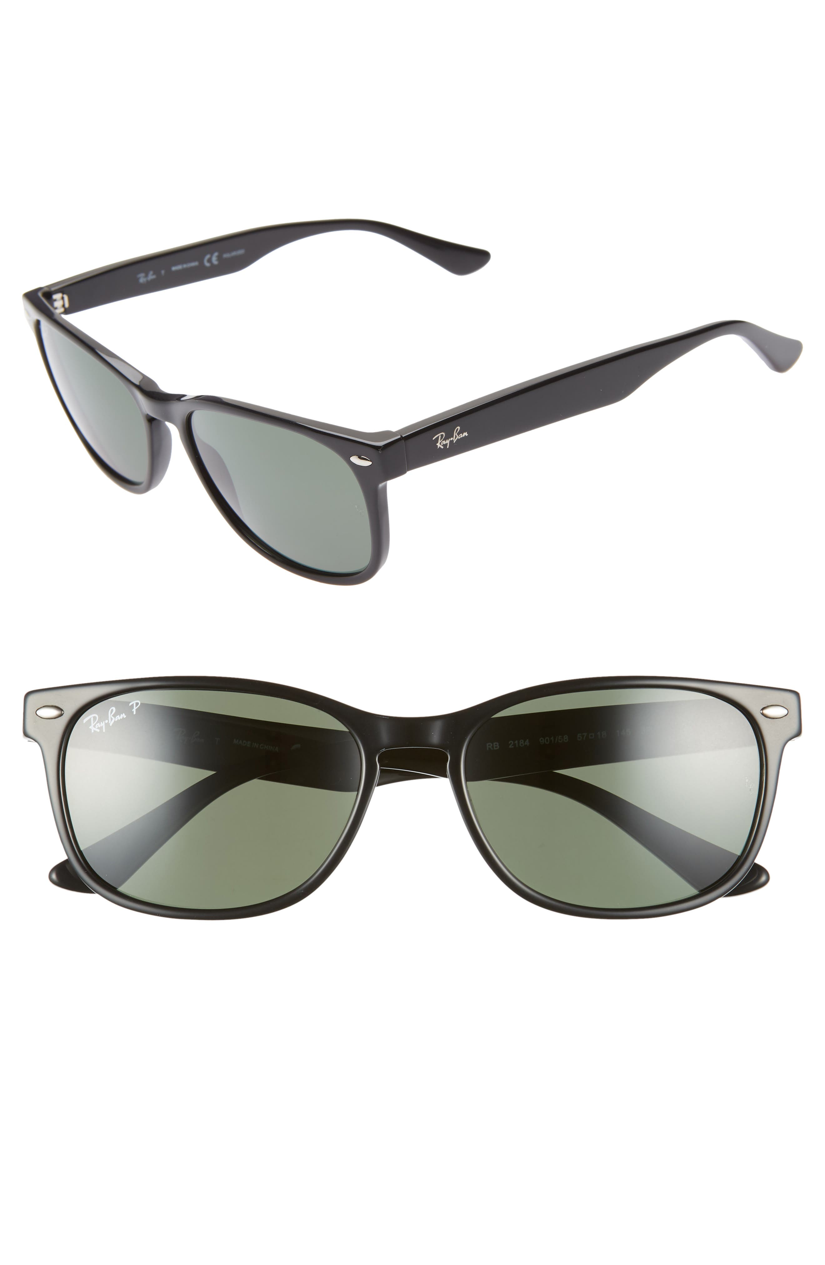57mm Wayfarer Polarized Sunglasses,                         Main,                         color, BLACK/ GREEN SOLID