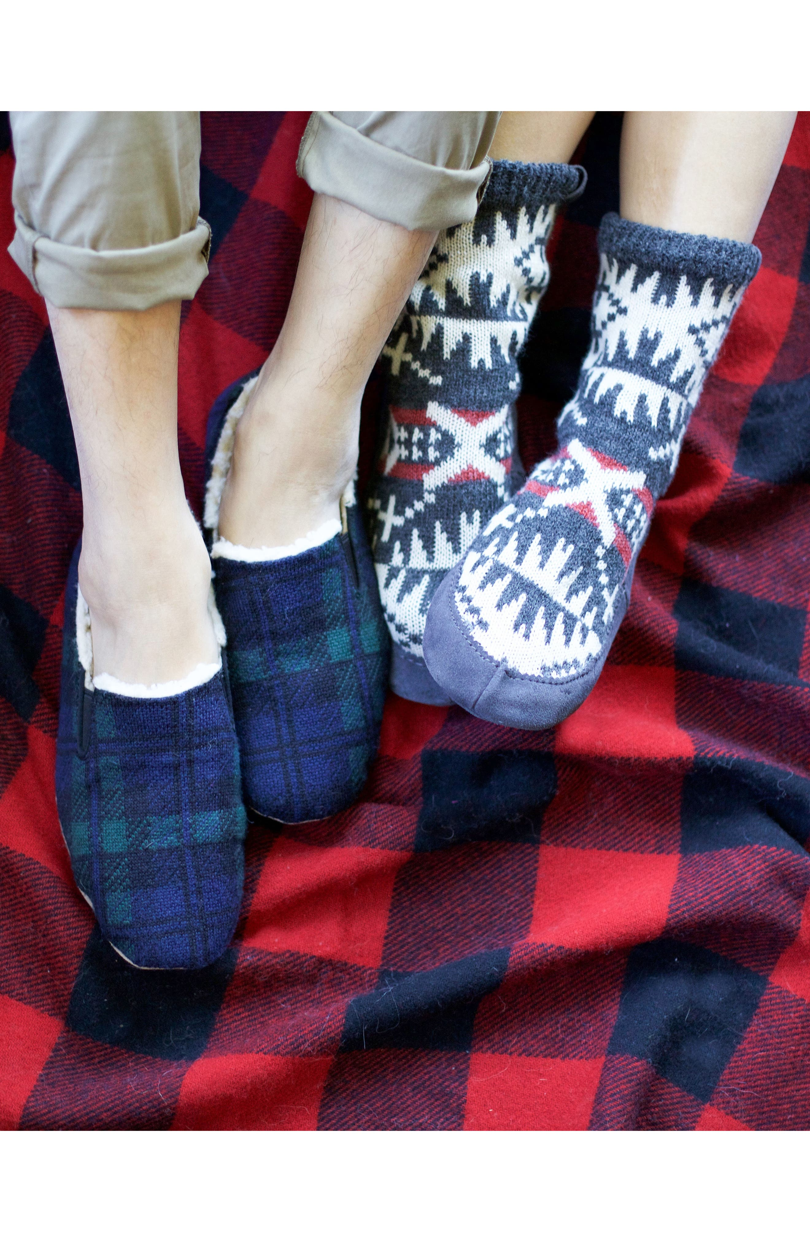 Black Watch Plaid Nomad Slippers,                             Alternate thumbnail 8, color,
