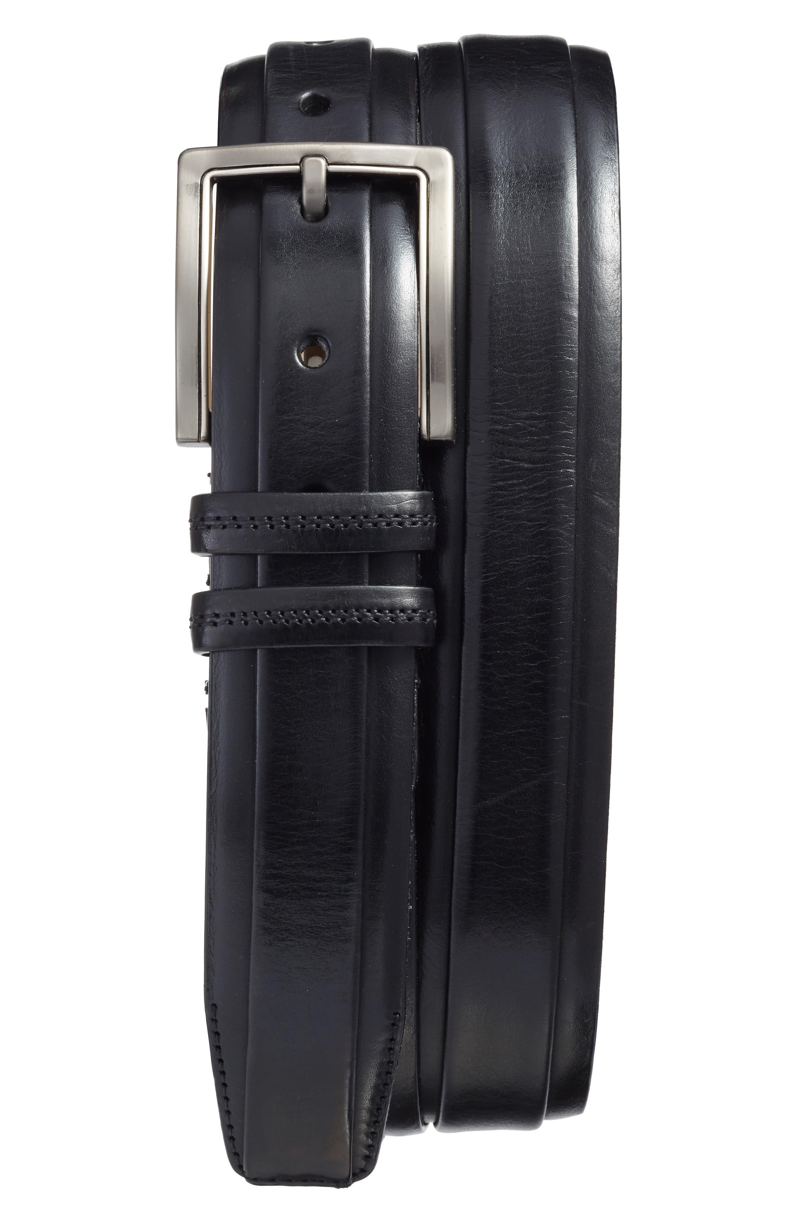 Parma Leather Belt,                             Main thumbnail 1, color,                             001