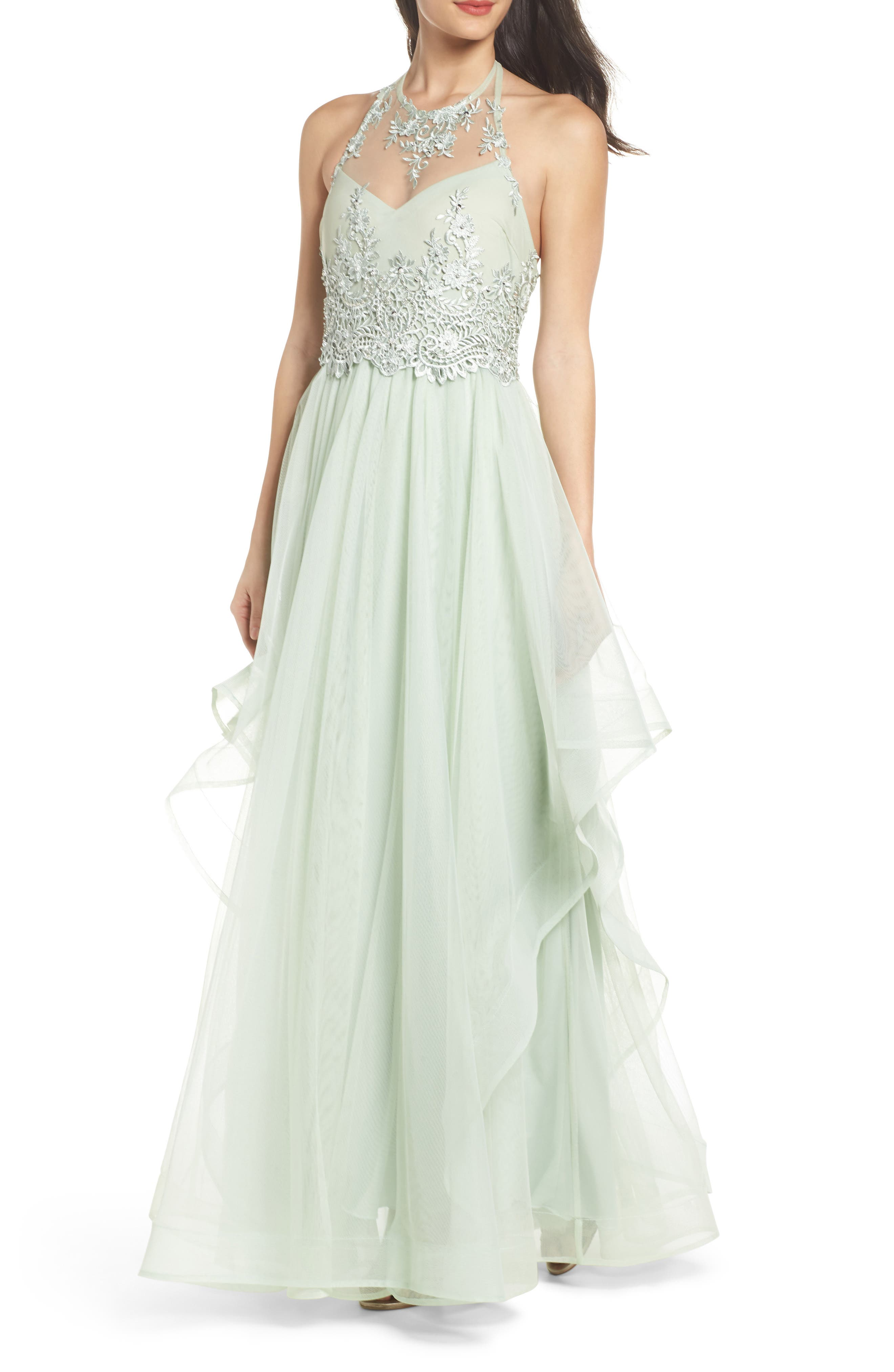 Embroidered Halter Gown,                             Main thumbnail 1, color,                             SAGE