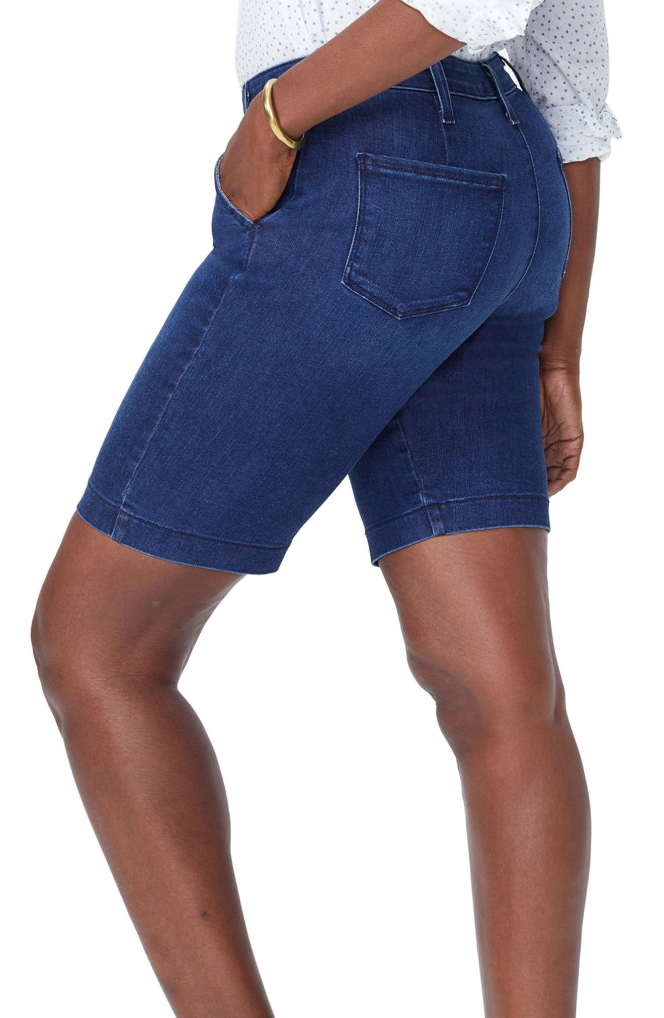 Marilyn Stretch Denim Bermuda Shorts,                             Alternate thumbnail 3, color,                             COOPER