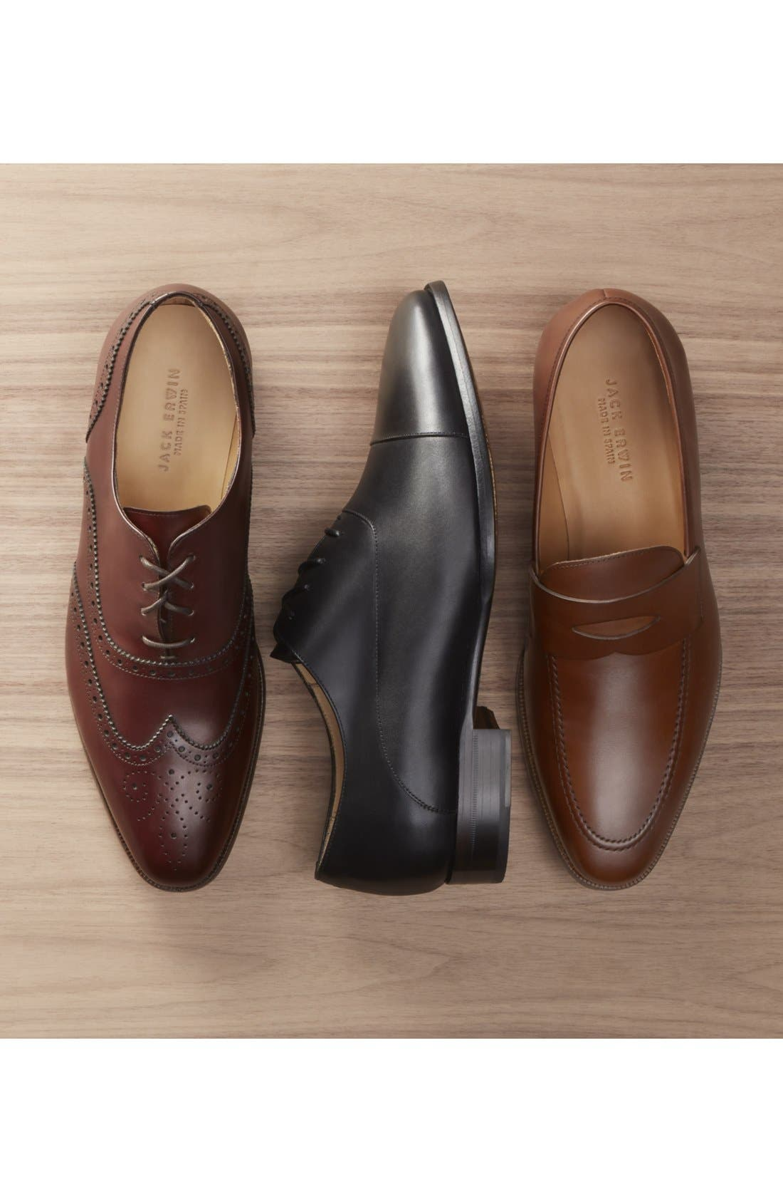 Joe Cap Toe Oxford,                             Alternate thumbnail 5, color,                             BLACK LEATHER