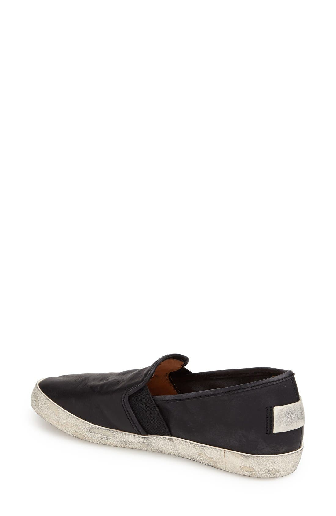 'Dylan' Leather Slip-On Sneaker,                             Alternate thumbnail 3, color,                             001