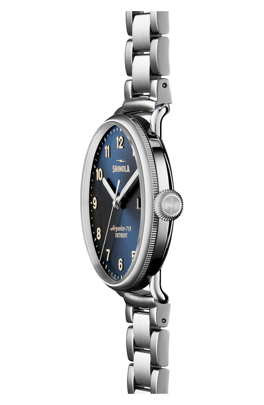 The Canfield Bracelet Watch, 43mm,                             Alternate thumbnail 3, color,                             SILVER/ MIDNIGHT BLUE