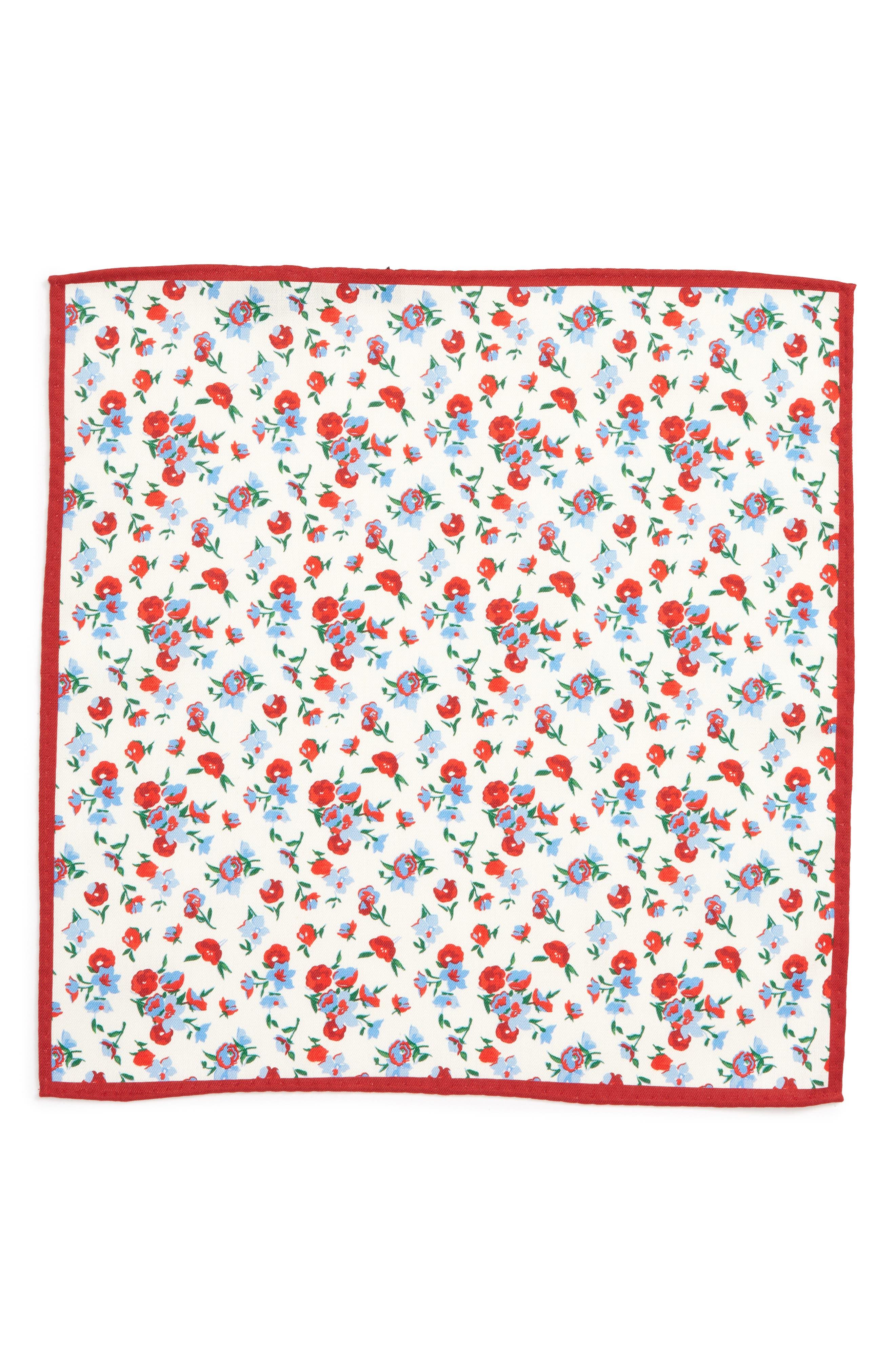 Floral Silk Pocket Square,                             Alternate thumbnail 2, color,                             RED