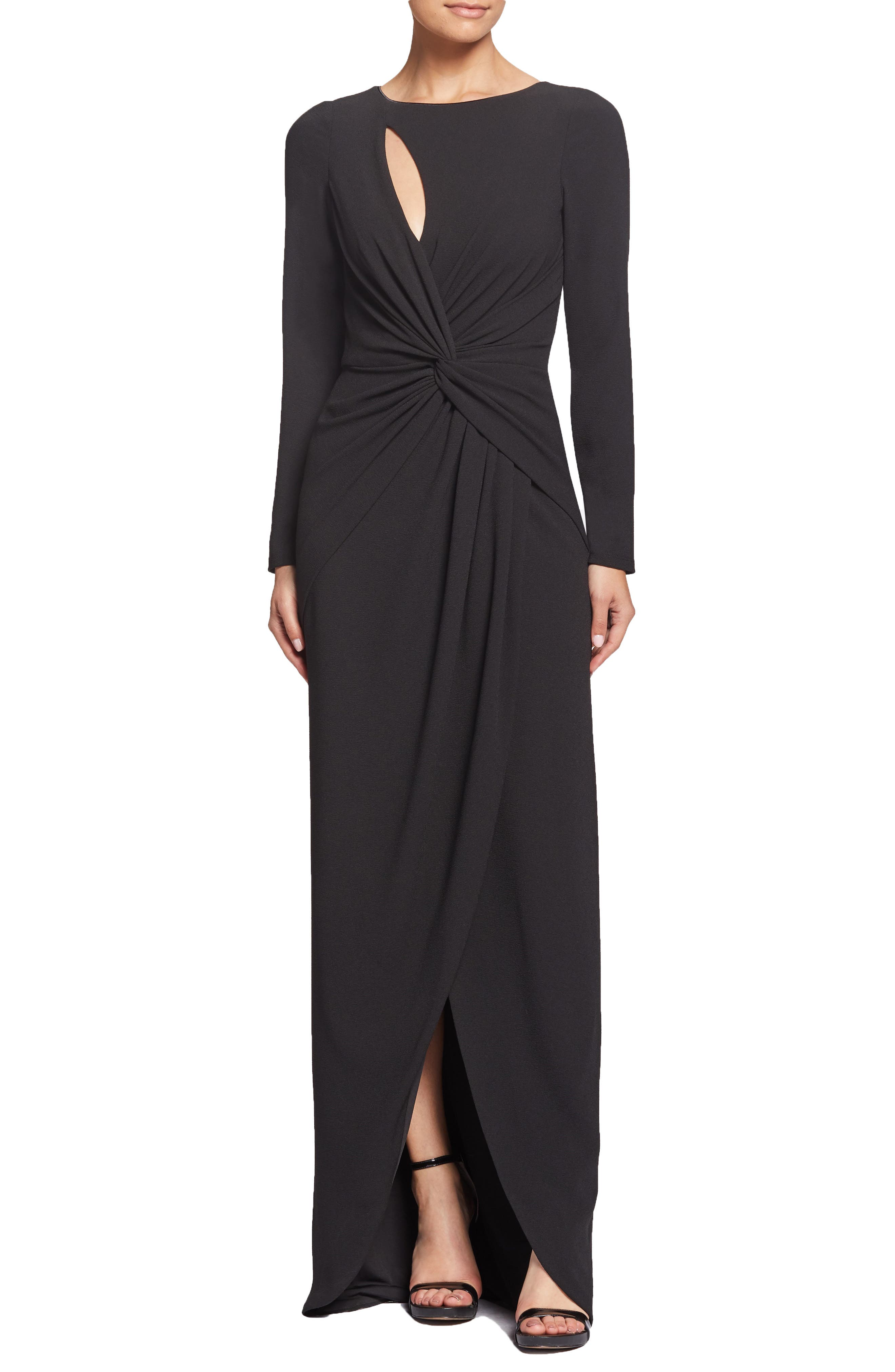 Dress The Population Naomi Twisted Gown, Black