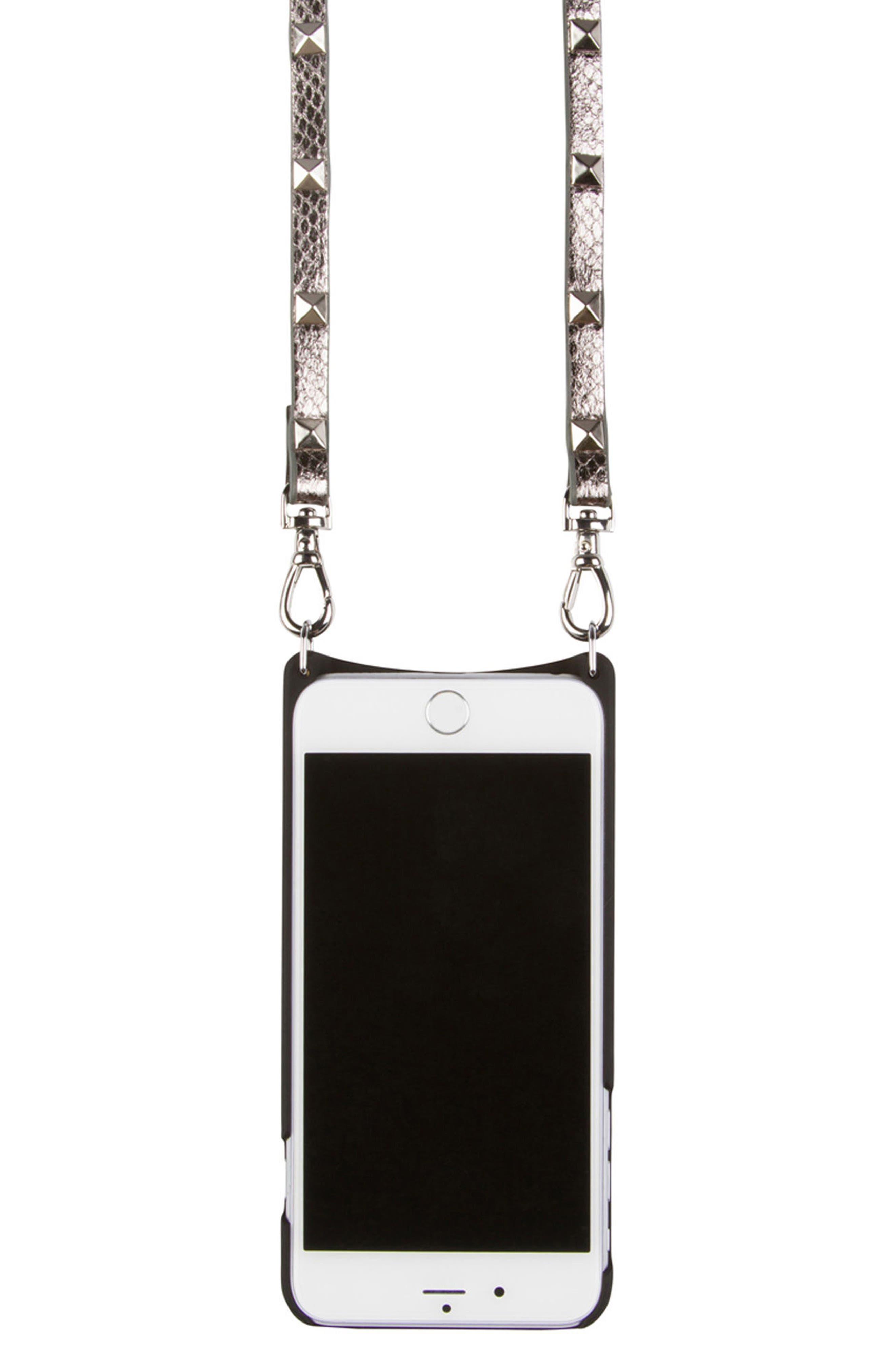 Sarah Metallic Faux Snakeskin iPhone 6/7/8 & 6/7/8 Plus Crossbody Case,                             Alternate thumbnail 4, color,                             PEWTER/ SILVER