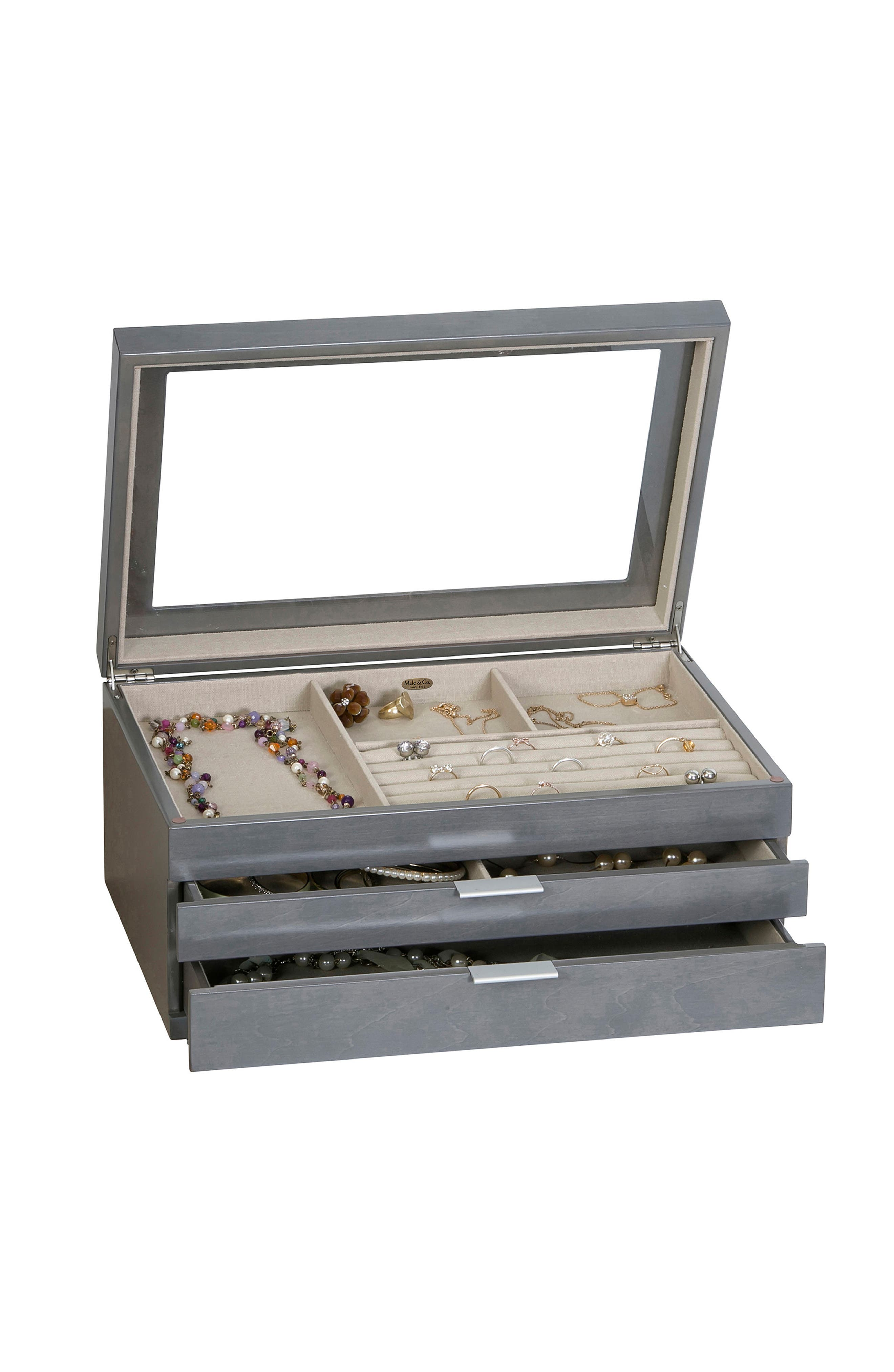 Misty Glass Top Jewelry Box,                             Alternate thumbnail 3, color,                             GRAY