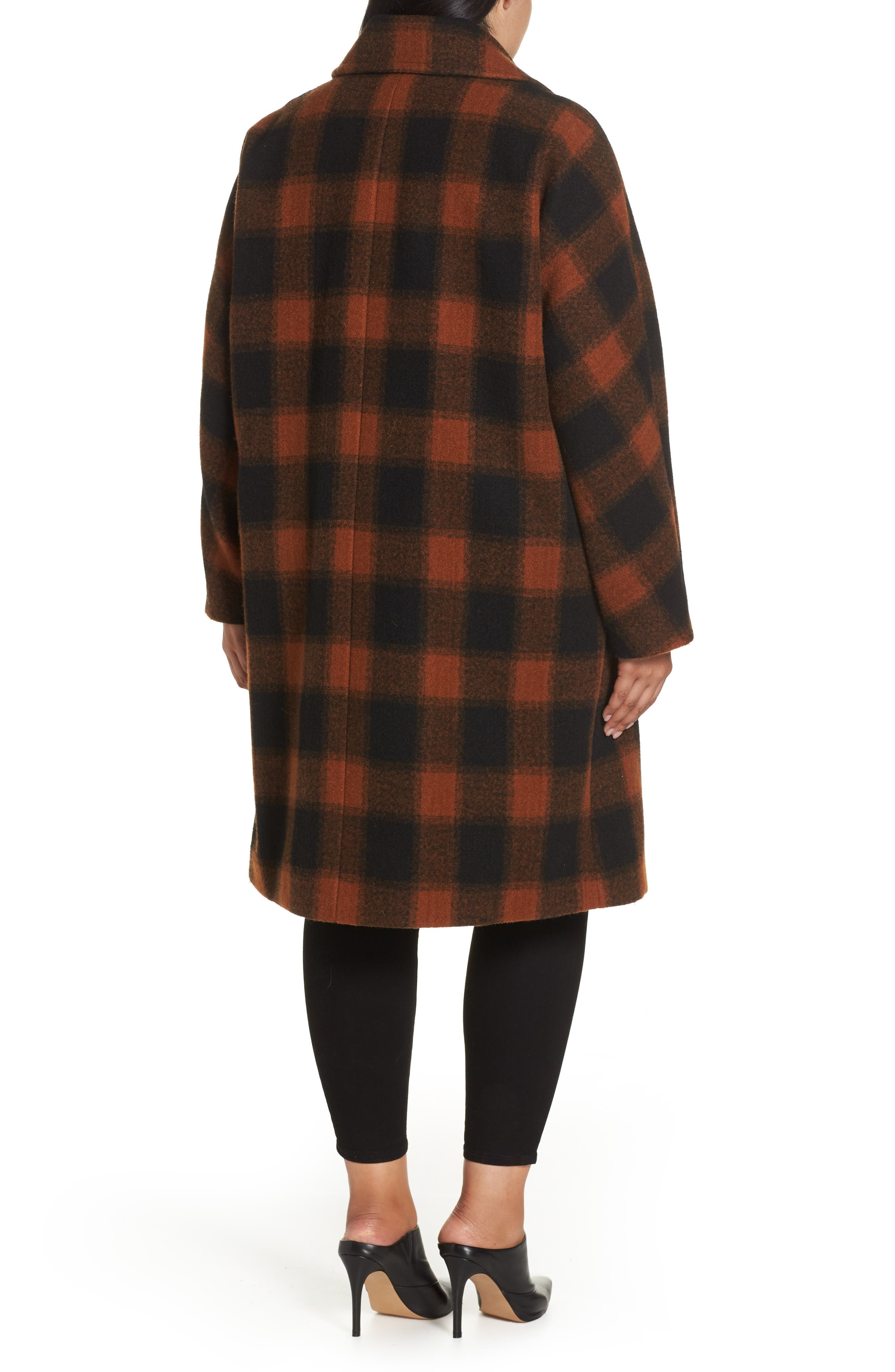Oversize Boiled Wool Coat,                             Alternate thumbnail 2, color,                             PLAID